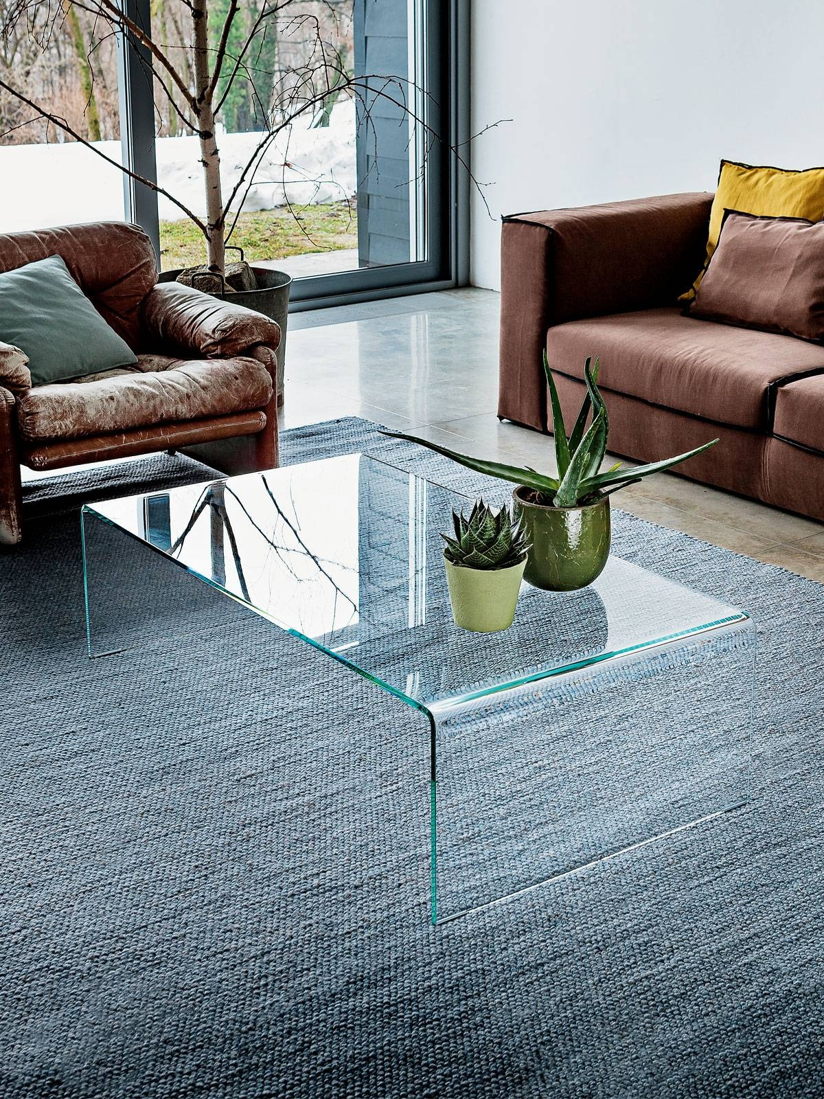 Bridge Curved Glass Coffee Table - To Buy Online - Glassdomain with regard to Curved Glass Coffee Tables (Image 5 of 30)