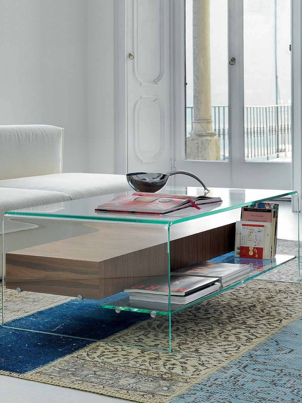 Bridge Glass And Wood Coffee Table With Drawer And Shelf - Glassdomain in Glass Coffee Tables With Shelf (Image 1 of 30)