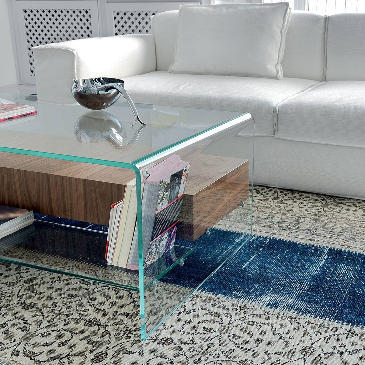 Bridge Glass Coffee Table With Shelf And Drawer - Klarity - Glass inside Glass Coffee Tables With Shelf (Image 2 of 30)
