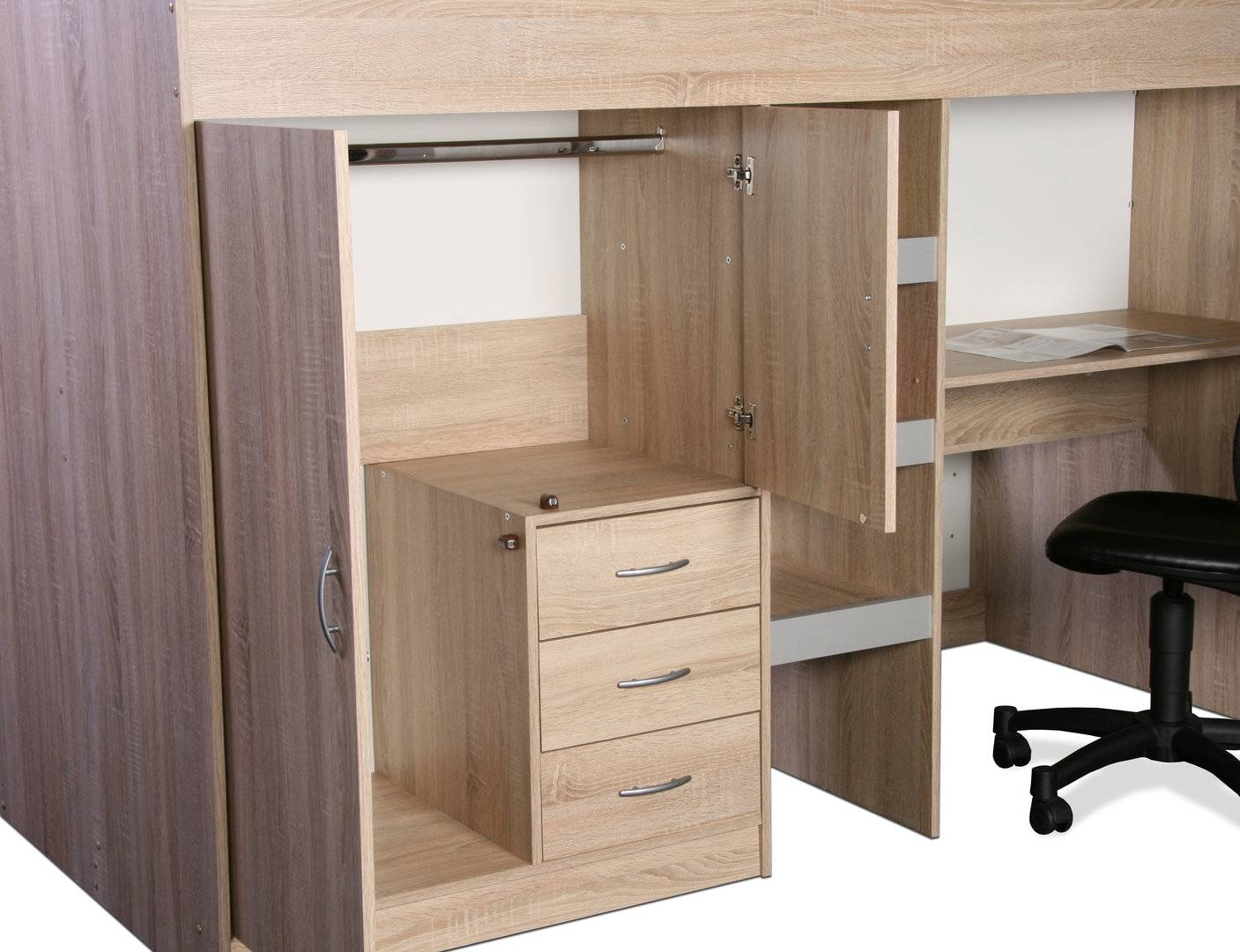 Brighton High Cabin Sleeper Bed Oak And Grey - Rutland Furniture throughout High Sleeper With Wardrobes and Desk (Image 1 of 15)