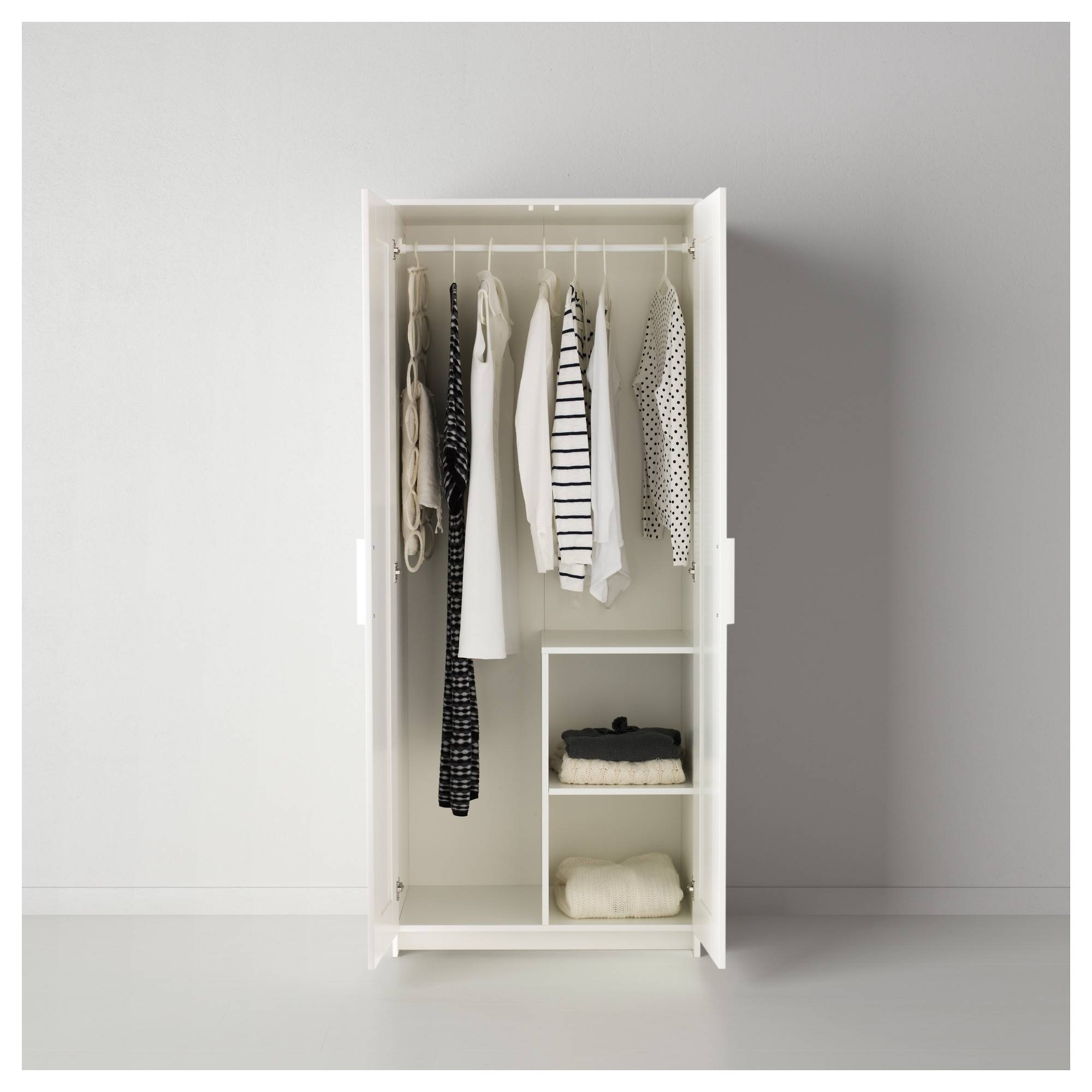 Brimnes Wardrobe With 2 Doors White 78X190 Cm - Ikea with Short Wardrobes (Image 1 of 15)