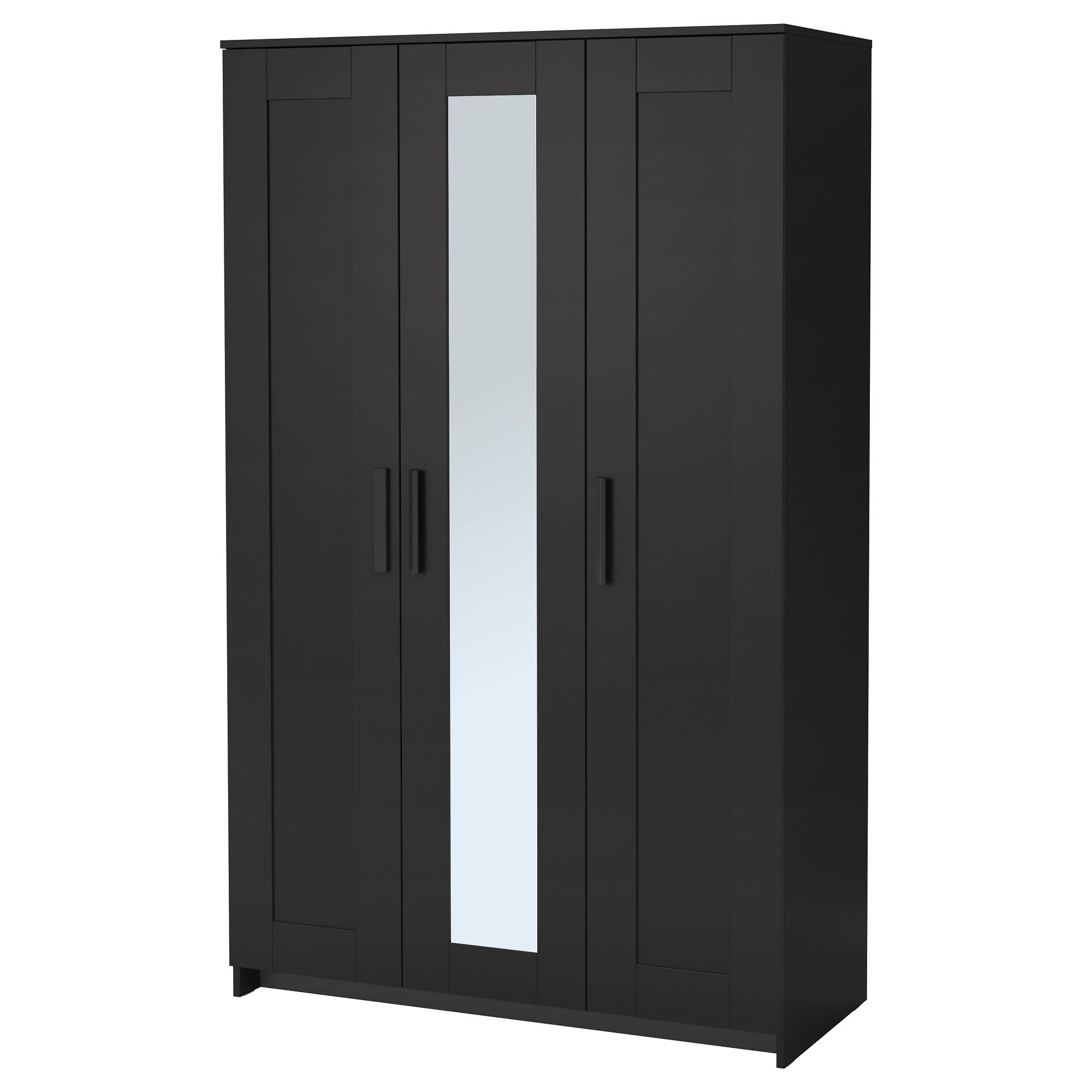 Brimnes Wardrobe With 3 Doors - Black - Ikea intended for Black Wardrobes With Mirror (Image 6 of 15)