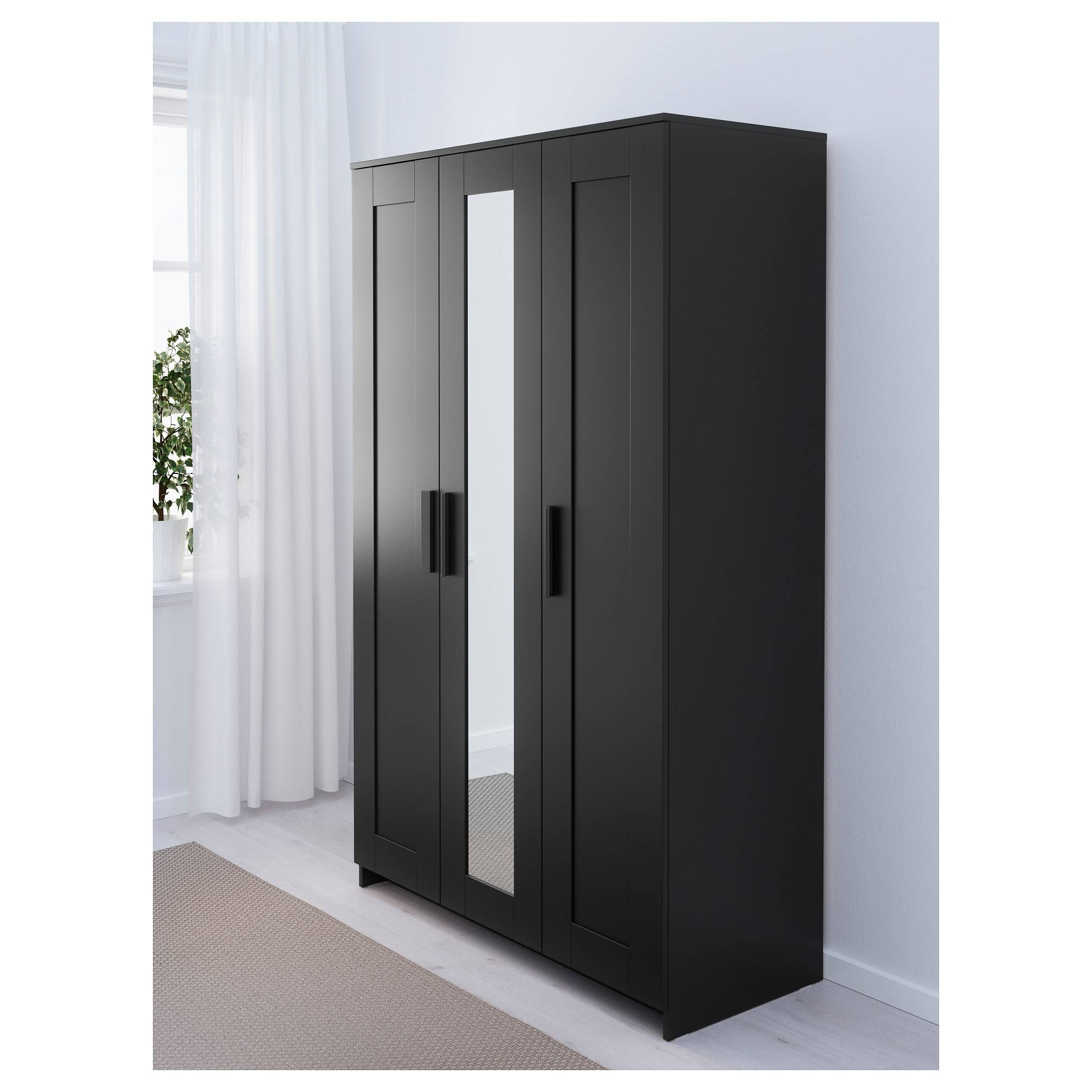 Brimnes Wardrobe With 3 Doors - Black - Ikea pertaining to Black Wardrobes With Mirror (Image 7 of 15)