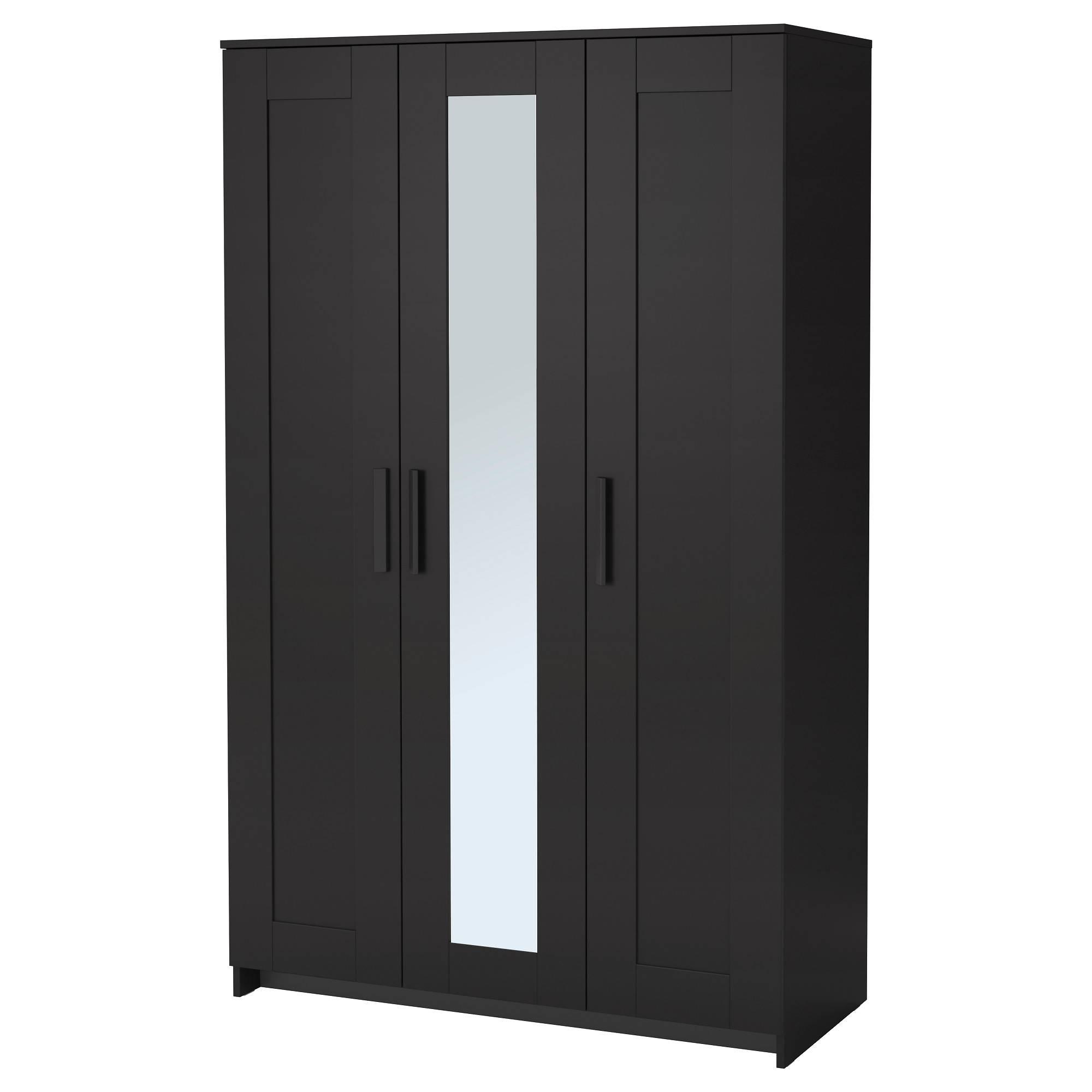 Brimnes Wardrobe With 3 Doors - Black - Ikea within Dark Wood Wardrobe Doors (Image 7 of 30)