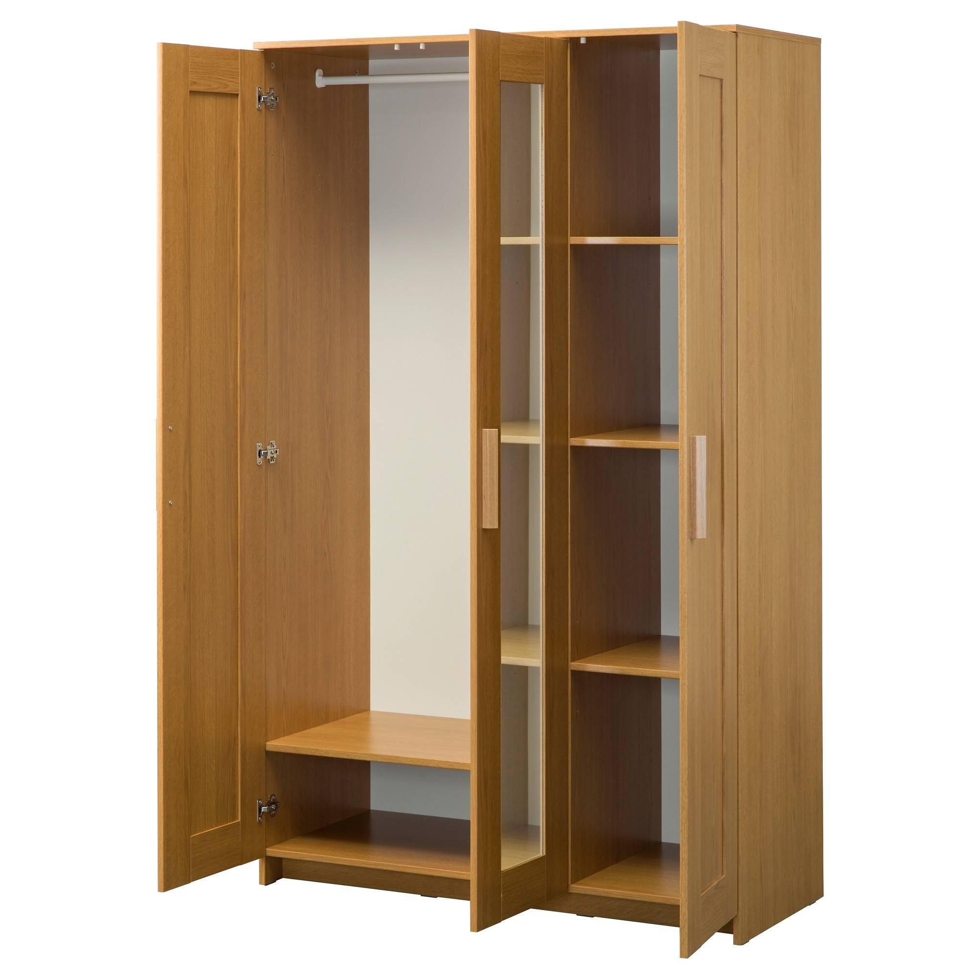Brimnes Wardrobe With 3 Doors Oak Effect 117X190 Cm - Ikea intended for 3 Door Wardrobes (Image 7 of 15)