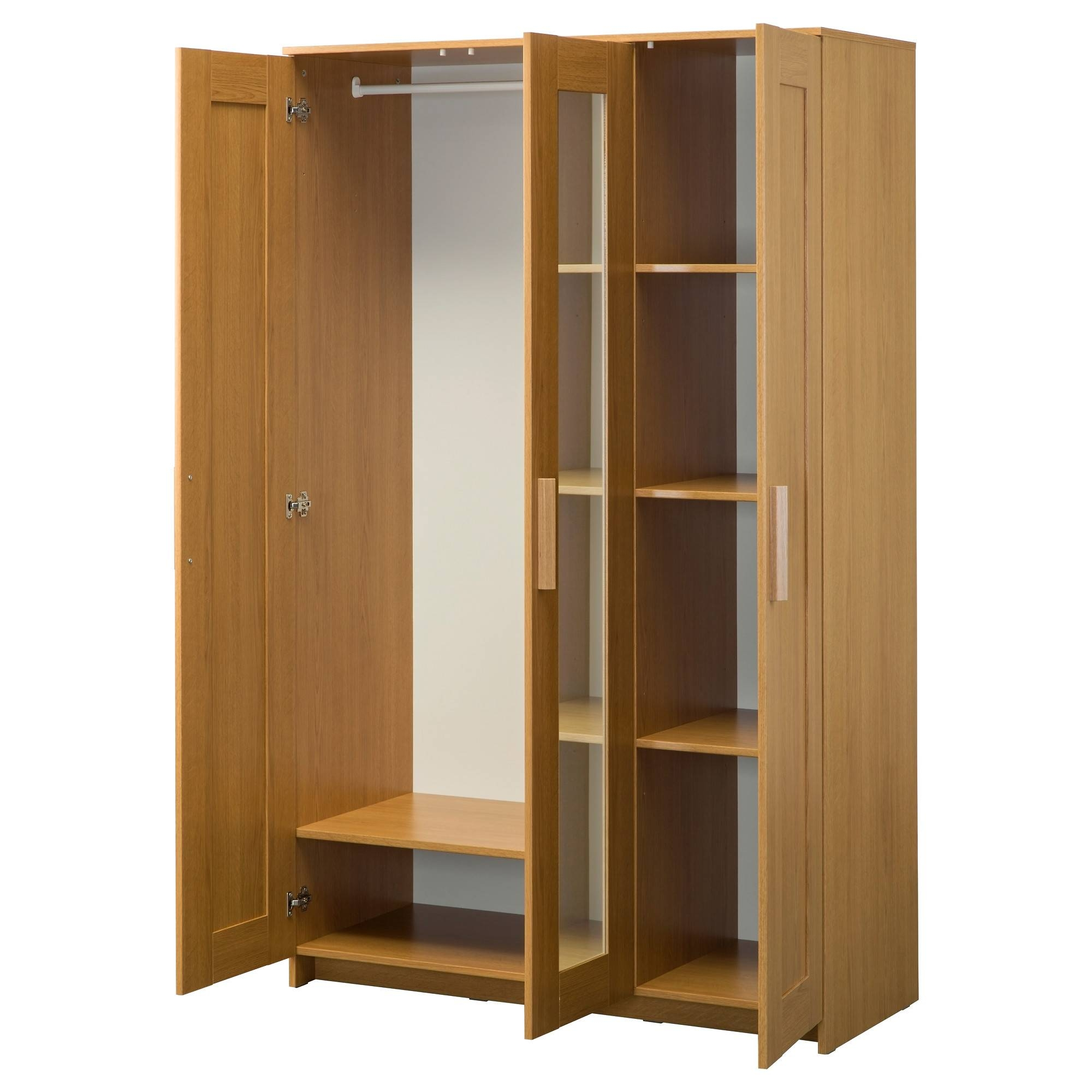 Brimnes Wardrobe With 3 Doors Oak Effect 117X190 Cm – Ikea With Oak 3 Door Wardrobes (View 1 of 15)