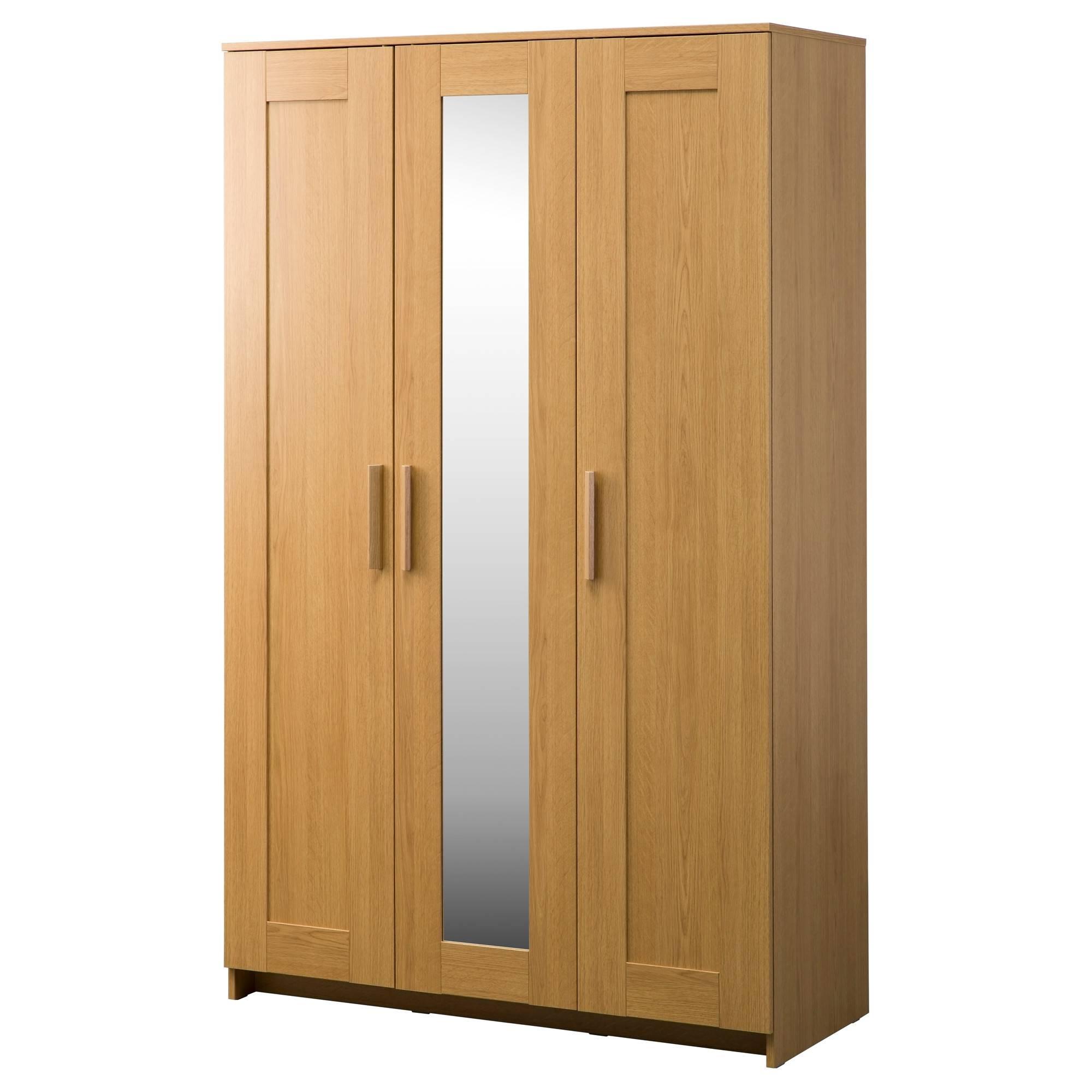 Brimnes Wardrobe With 3 Doors Oak Effect 117X190 Cm – Ikea Within Oak 3 Door Wardrobes (View 2 of 15)