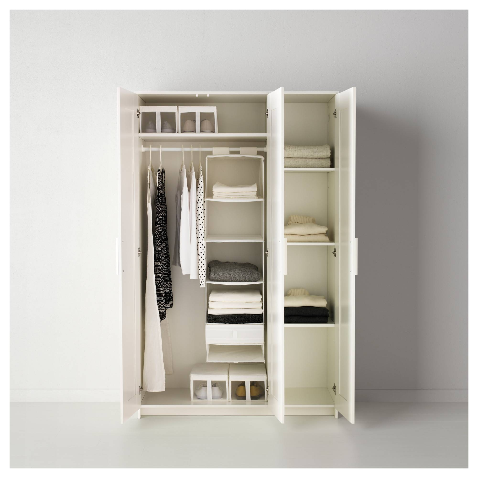 Brimnes Wardrobe With 3 Doors - White - Ikea regarding Wardrobe With Shelves and Drawers (Image 10 of 30)