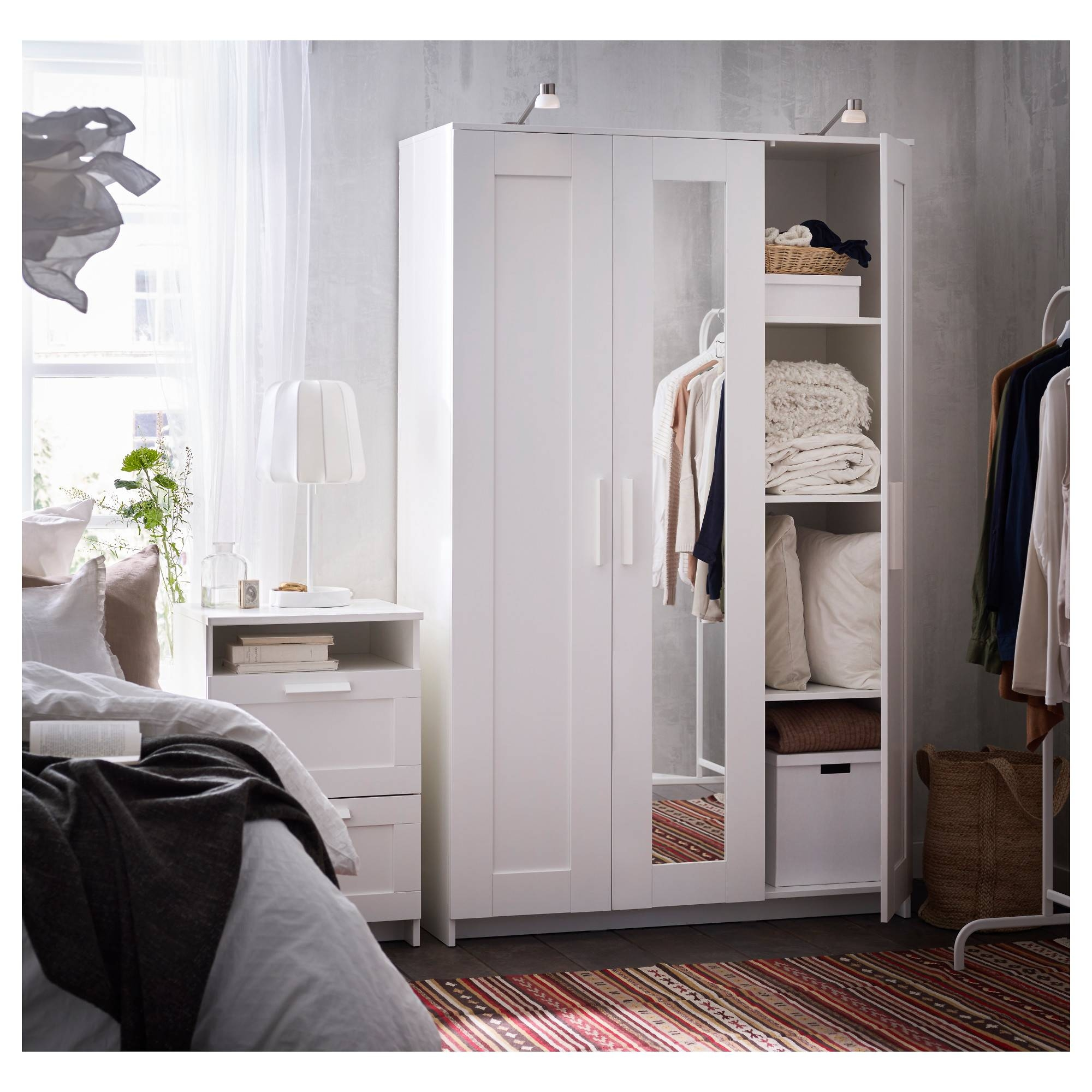 Brimnes Wardrobe With 3 Doors - White - Ikea with regard to White 3 Door Wardrobes With Mirror (Image 3 of 15)