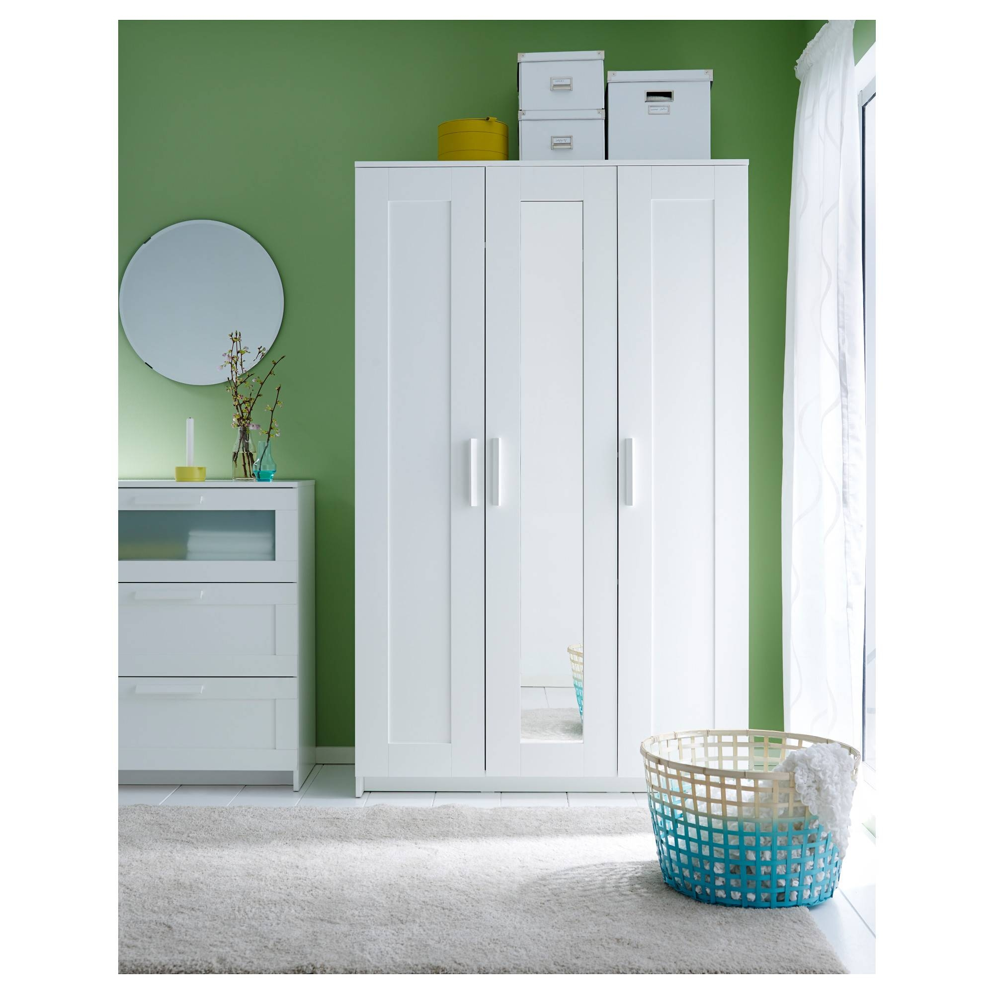 Brimnes Wardrobe With 3 Doors - White - Ikea with White 3 Door Wardrobes With Mirror (Image 4 of 15)