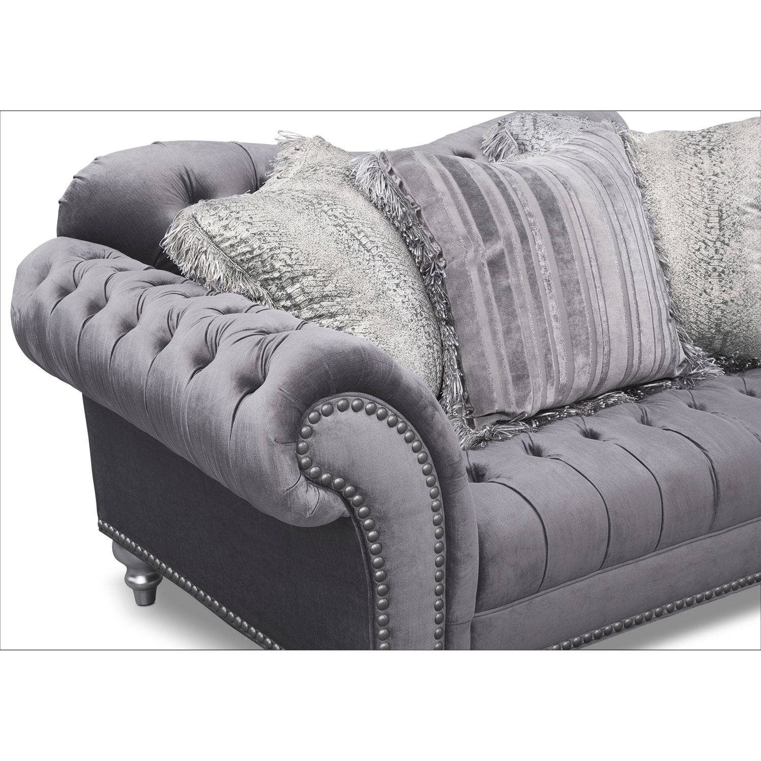 Brittney Sofa, Loveseat And Chair Set - Gray | Value City Furniture for Sofa Loveseat and Chair Set (Image 5 of 30)