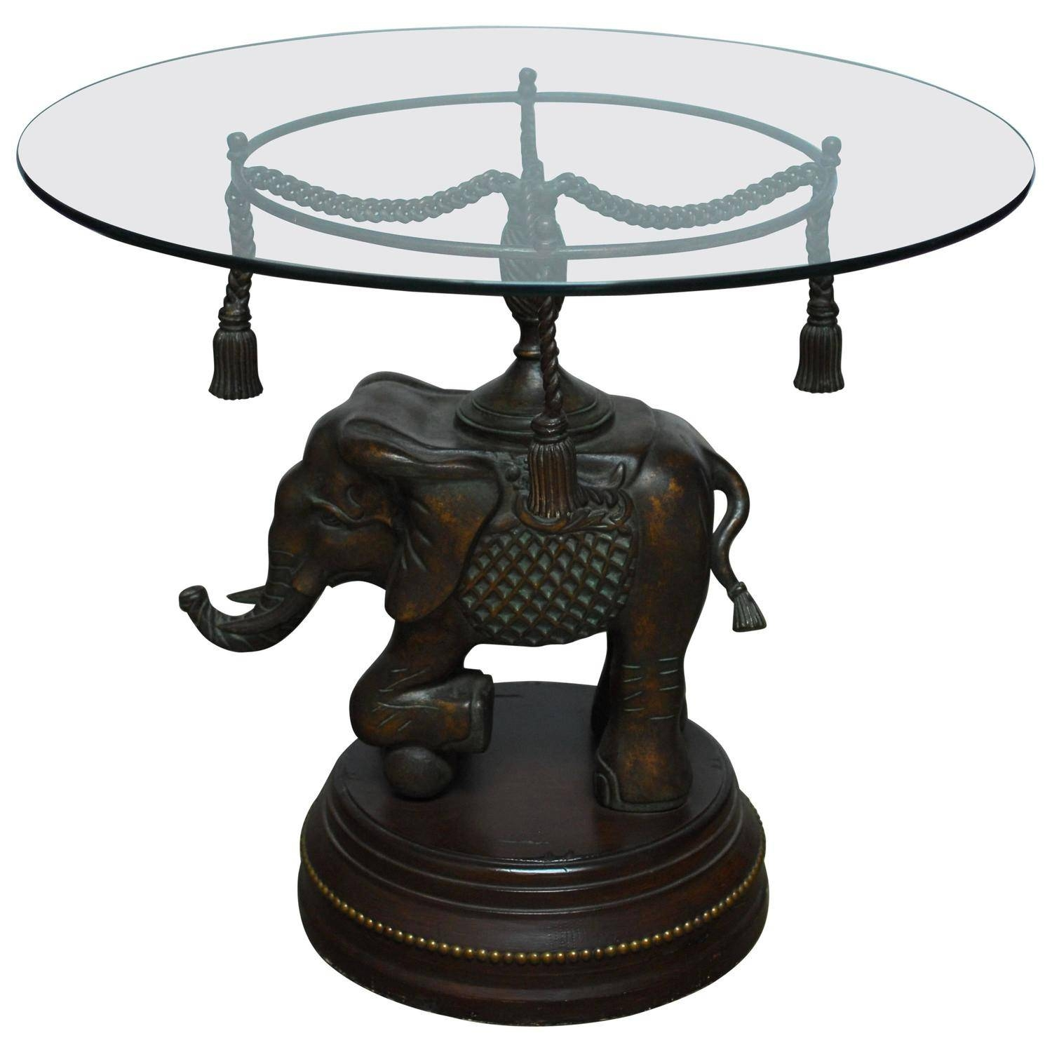 Bronze Elephant Pedestal Side Table For Sale At 1Stdibs intended for Elephant Coffee Tables With Glass Top (Image 7 of 30)