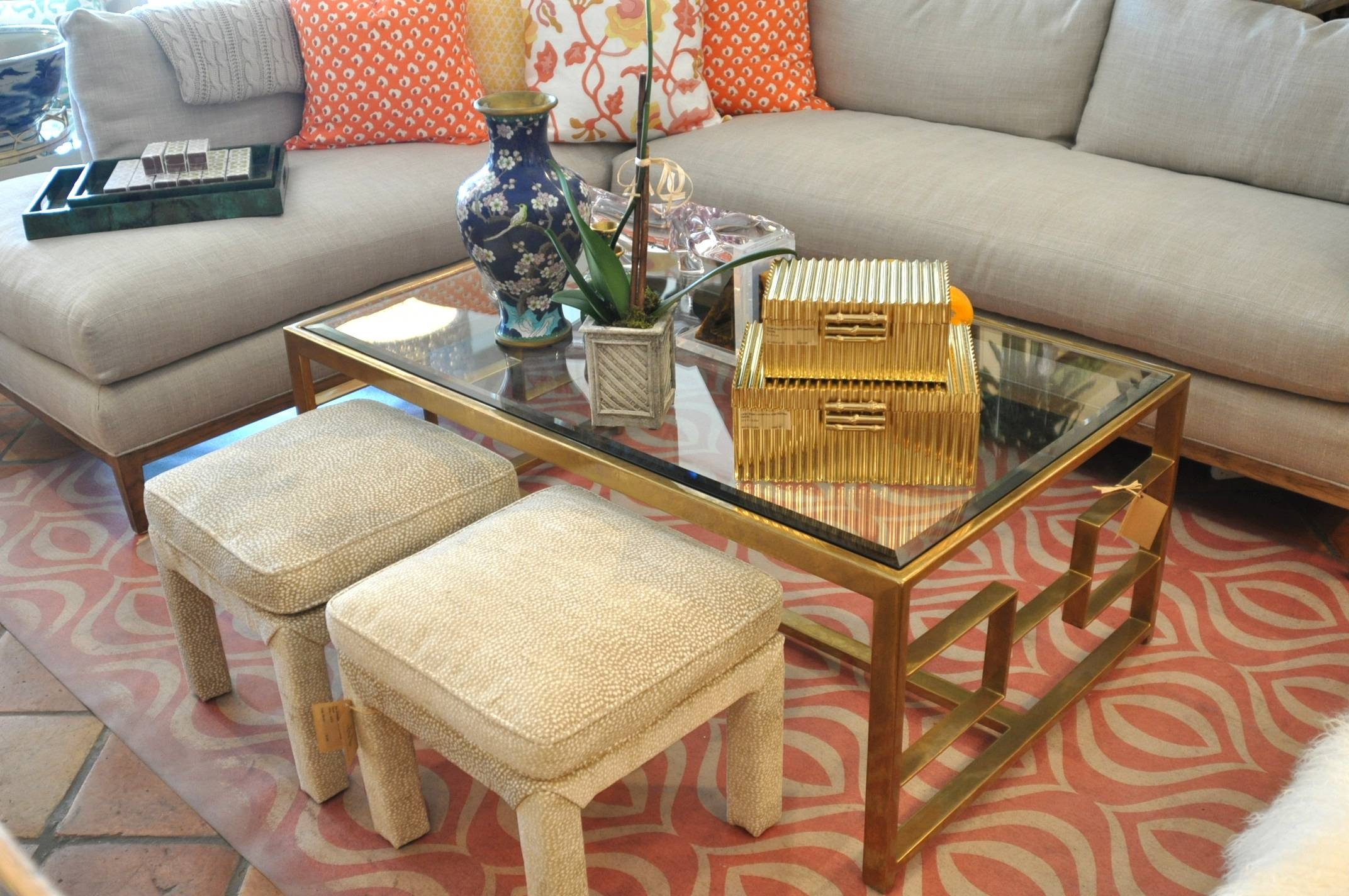 Bronze Geometric Frame Coffee Table - Mecox Gardens throughout Bronze Coffee Table Glass Top (Image 6 of 30)