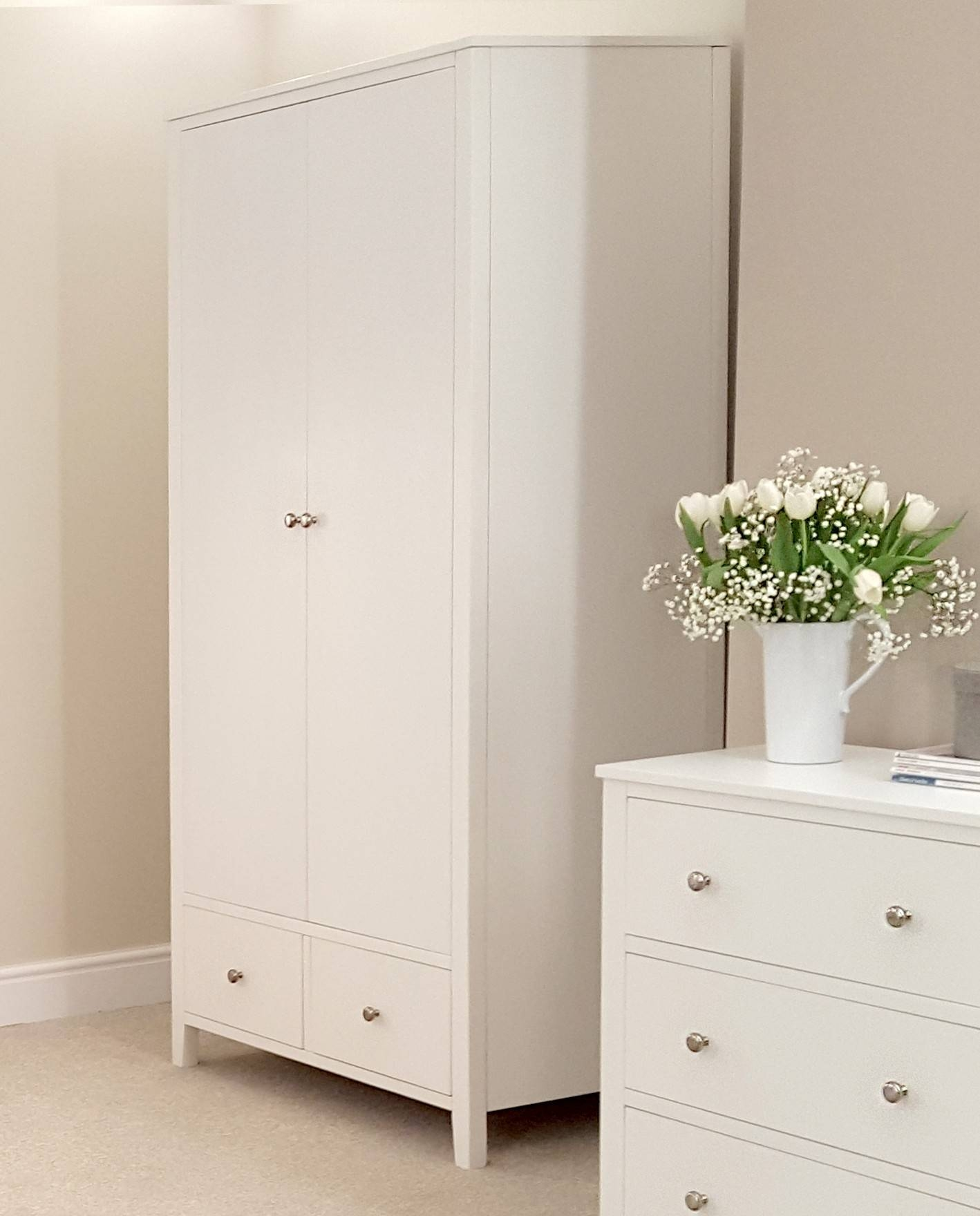 Brooklyn White Double Wardrobe With 2 Drawers| Bedroom Furniture throughout White Double Wardrobes With Drawers (Image 3 of 15)