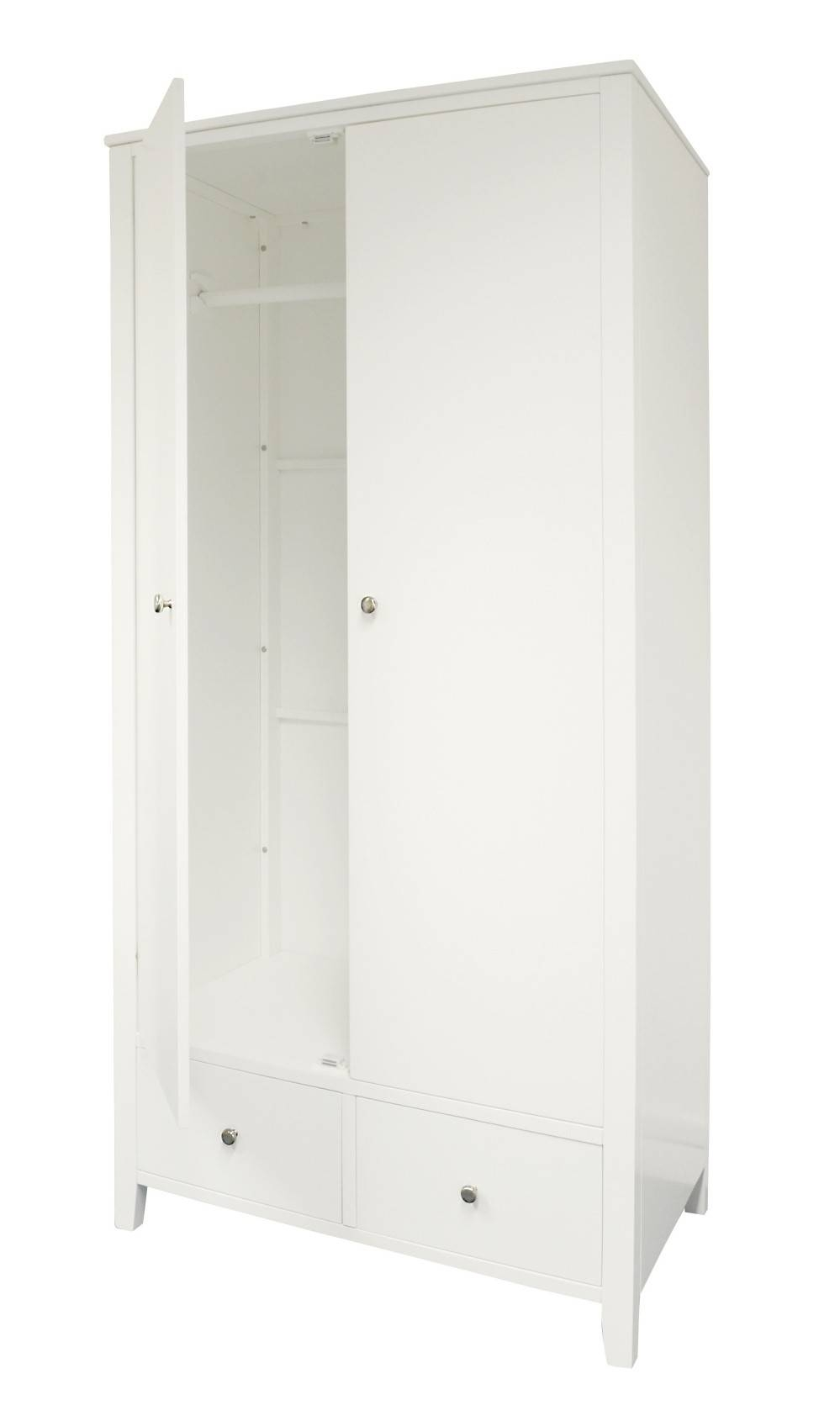 Brooklyn White Double Wardrobe With 2 Drawers| Bedroom Furniture with regard to White Double Wardrobes With Drawers (Image 4 of 15)