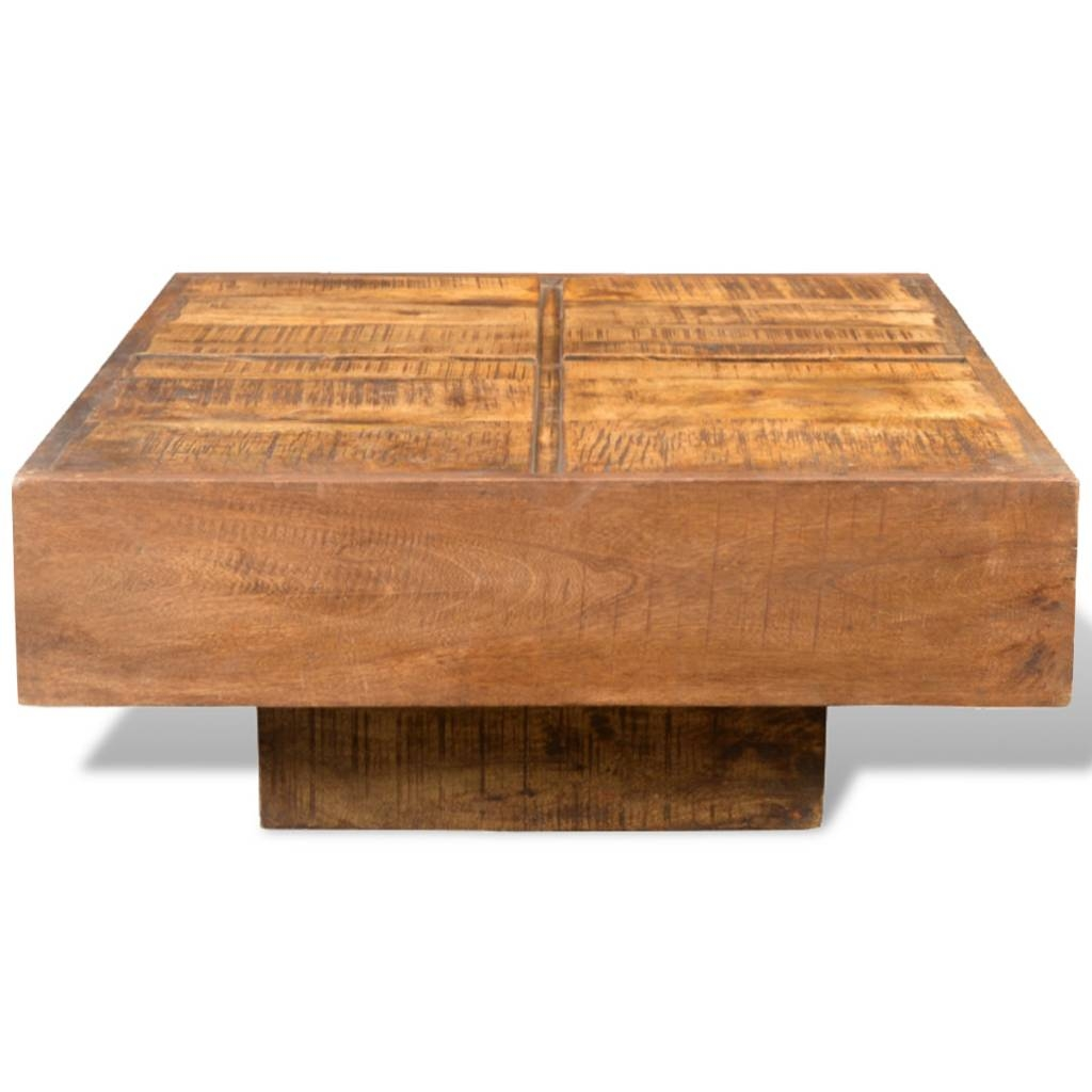Brown Antique-Style Square Mango Wood Coffee Table | Vidaxl inside Mango Wood Coffee Tables (Image 2 of 30)