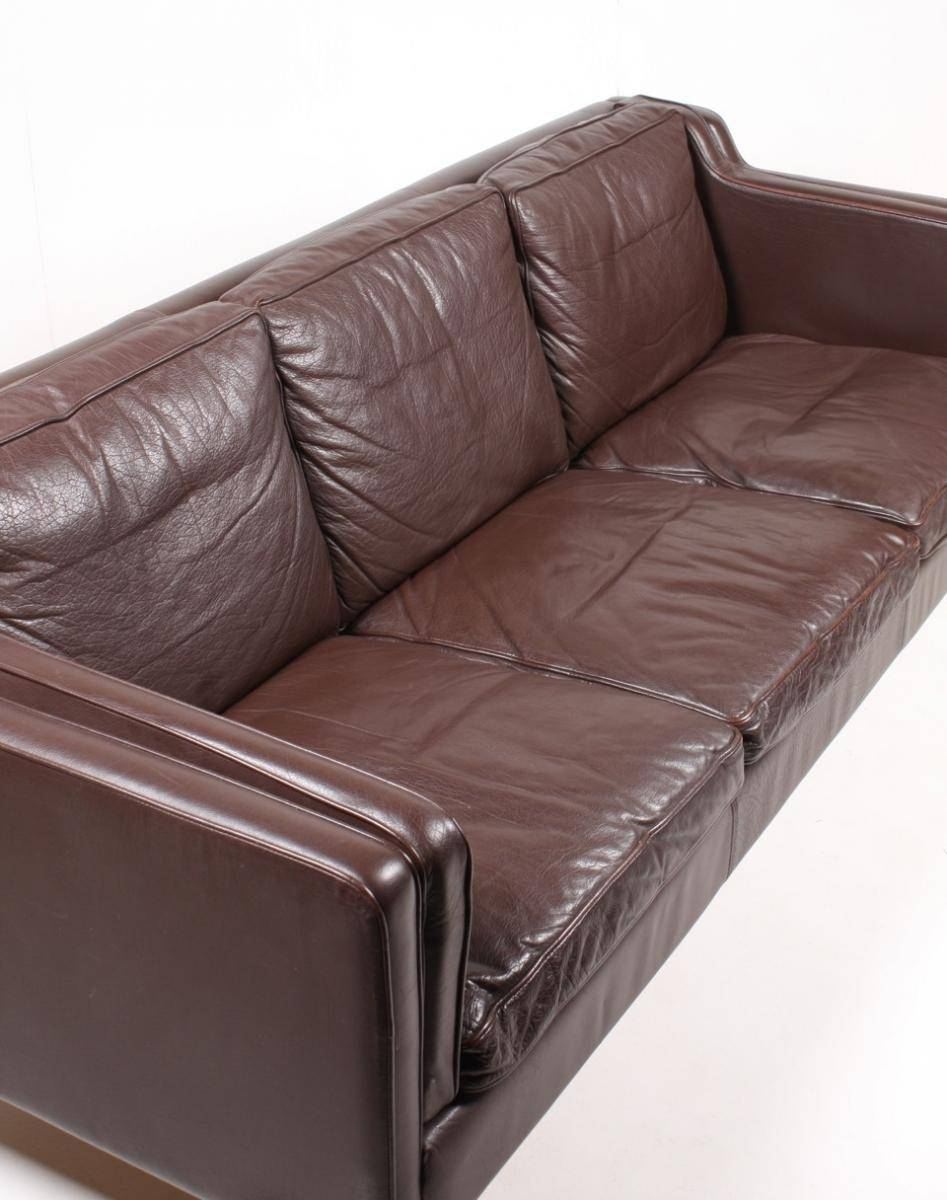 Brown Danish Three-Seater Leather Sofa From Stouby, 1980S For Sale with regard to 4 Seat Leather Sofas (Image 6 of 30)