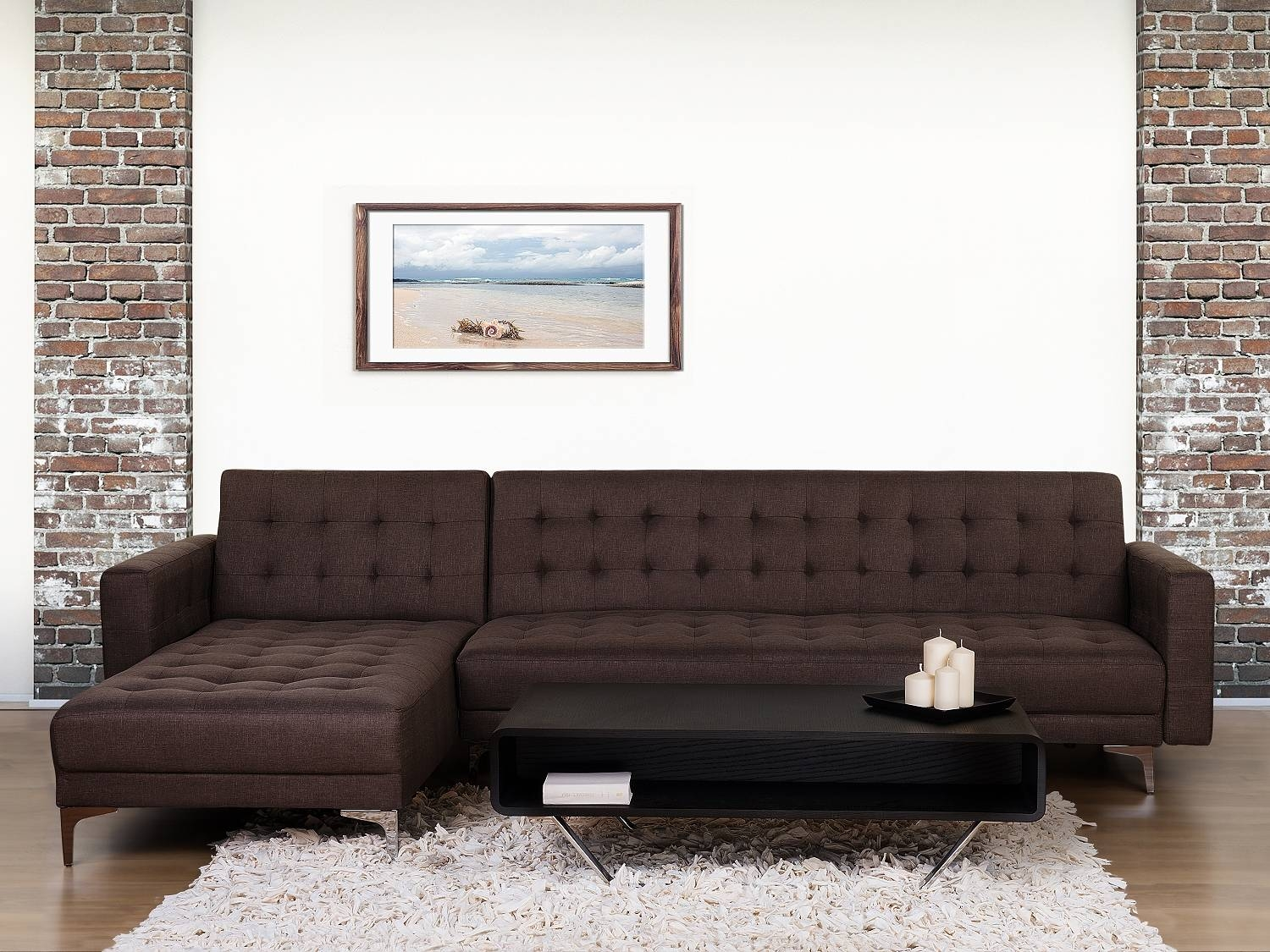 Brown Fabric Corner Sofa Bed Right / Left Side Armrest Sleep with regard to Fabric Corner Sofa Bed (Image 9 of 30)