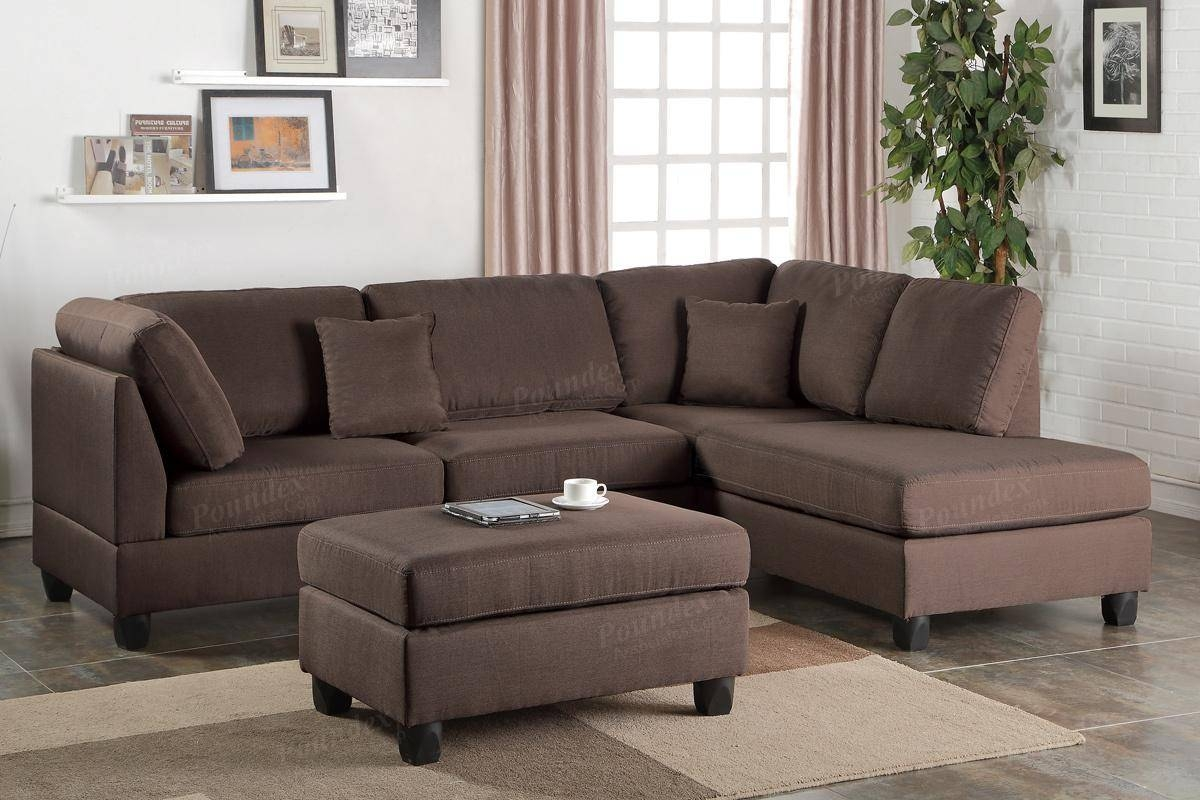 Brown Fabric Sectional Sofa And Ottoman - Steal-A-Sofa Furniture intended for Sofa With Chaise And Ottoman (Image 4 of 30)