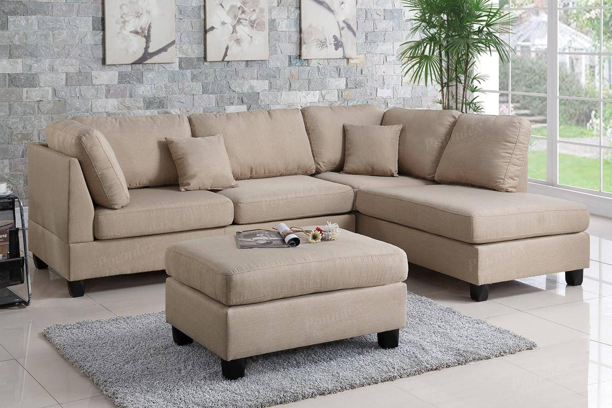 Brown Fabric Sectional Sofa And Ottoman - Steal-A-Sofa Furniture regarding Sofa With Chaise And Ottoman (Image 5 of 30)