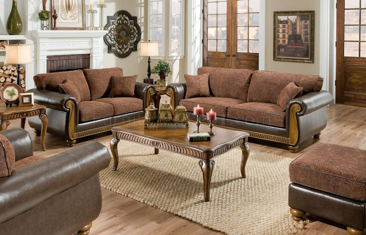 Brown Fabric Traditional Sofa & Loveseat Set W/faux Leather Arms pertaining to Traditional Fabric Sofas (Image 3 of 30)