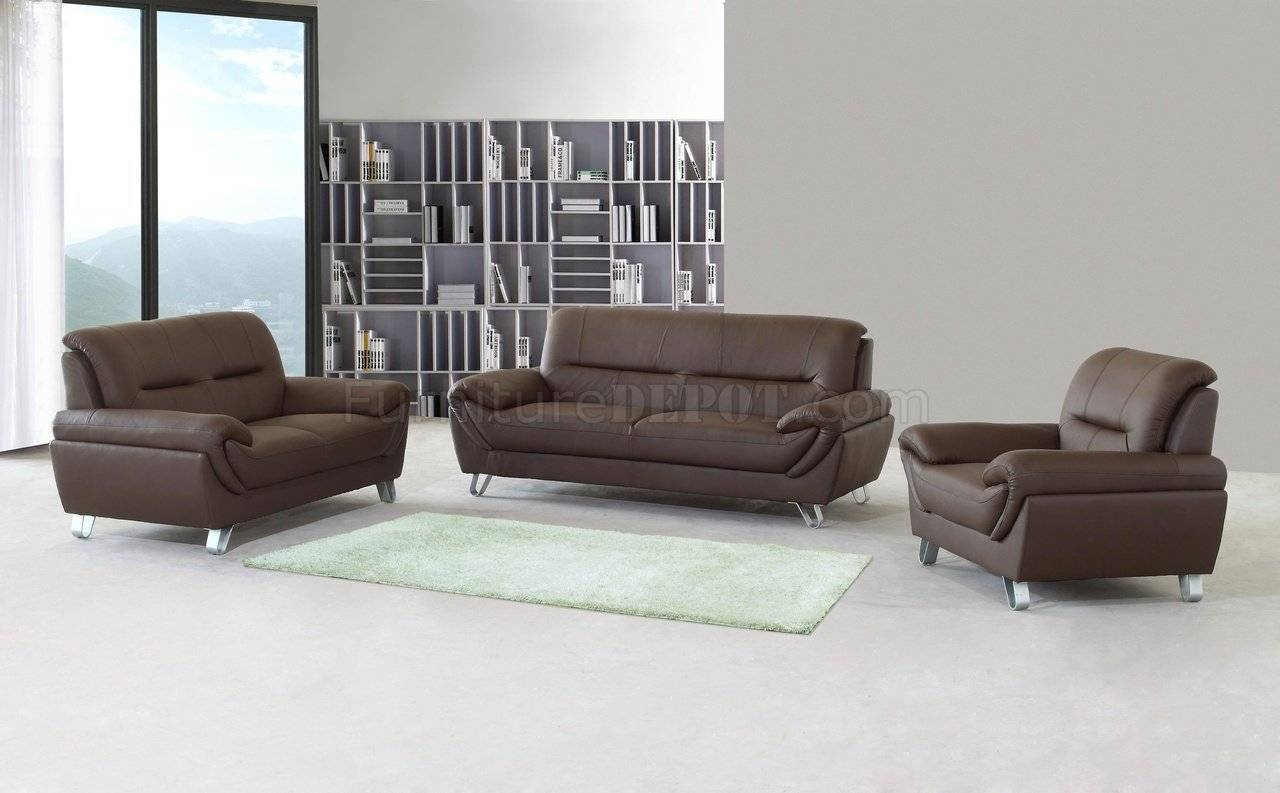 Brown Full Leather Modern Sofa, Loveseat & Chair Set W/options For Sofa And Chair Set (View 8 of 30)