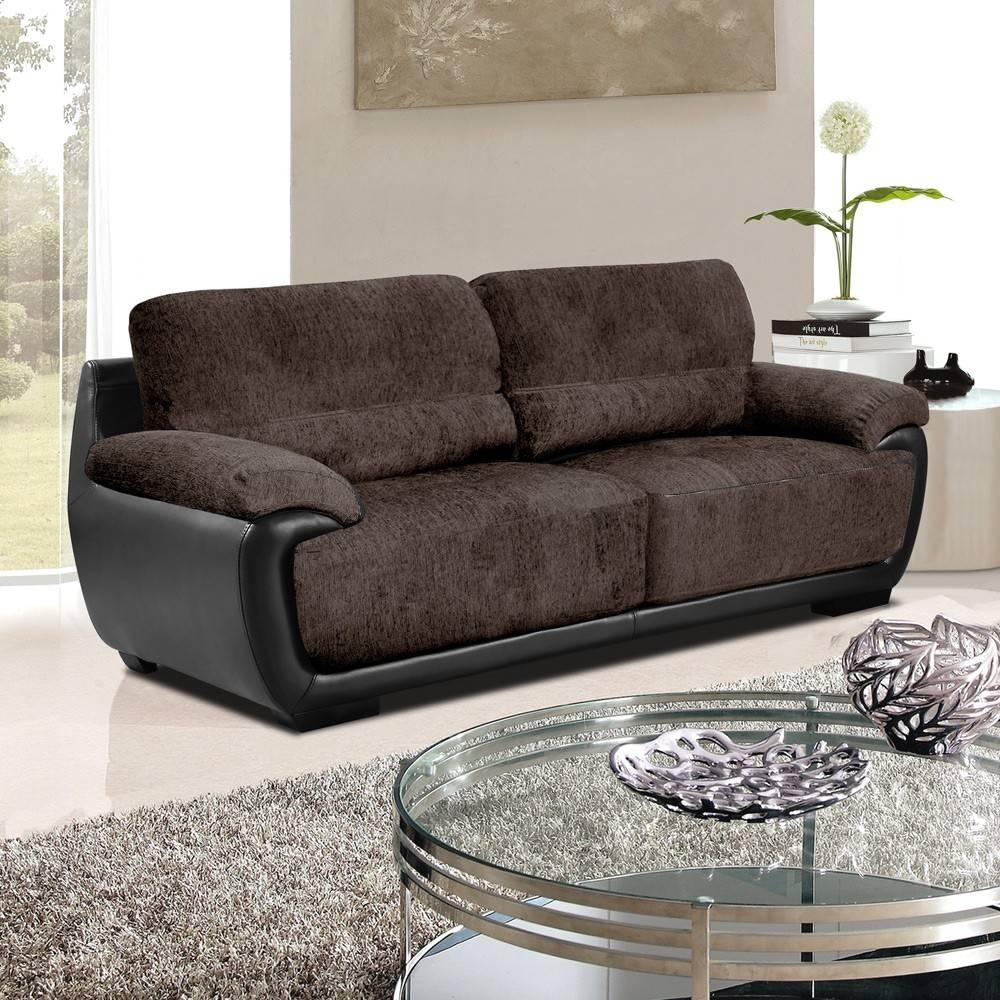 Brown Leather And Fabric Sofa — New Lighting New Lighting for Leather and Cloth Sofa (Image 4 of 25)