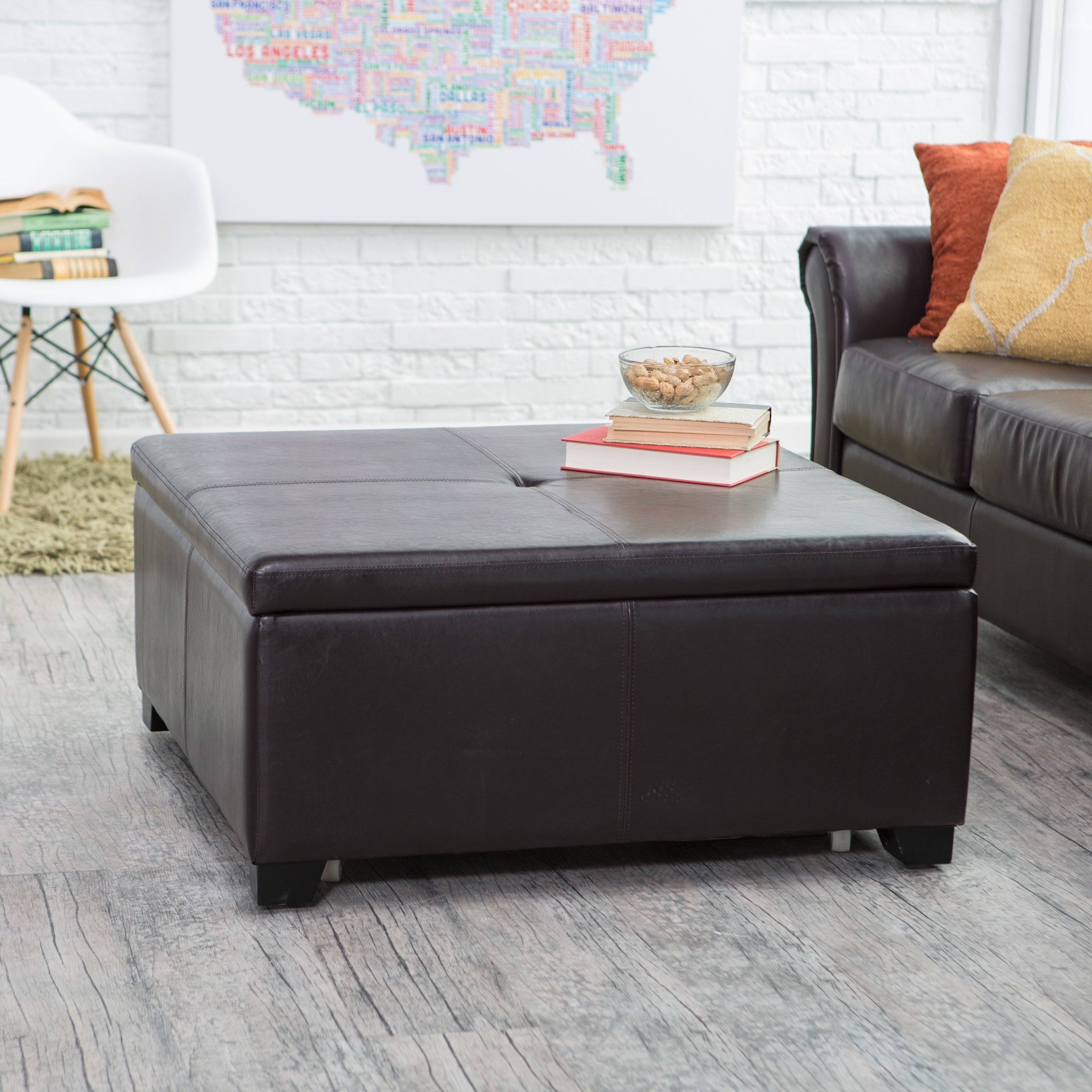 Brown Leather Coffee Table Storage Ottoman | Coffee Tables Decoration inside Brown Leather Ottoman Coffee Tables With Storages (Image 7 of 30)