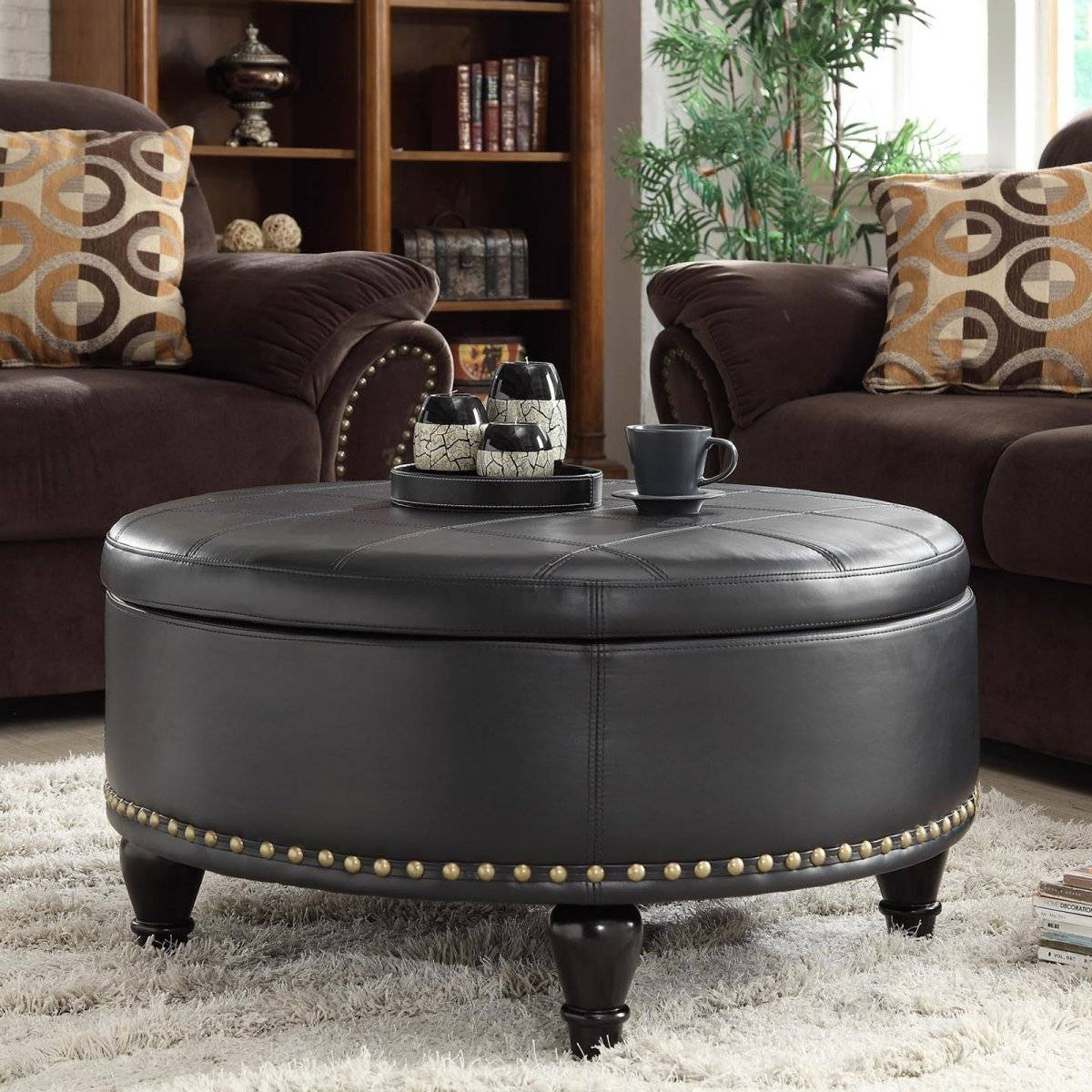 Brown Leather Coffee Table Storage Ottoman | Coffee Tables Decoration pertaining to Brown Leather Ottoman Coffee Tables With Storages (Image 8 of 30)