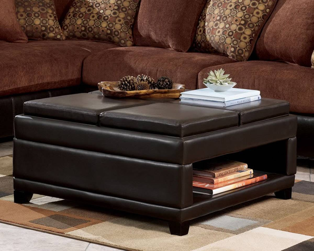 Brown Leather Ottoman Coffee Table With Storage | Coffee Tables inside Brown Leather Ottoman Coffee Tables With Storages (Image 10 of 30)