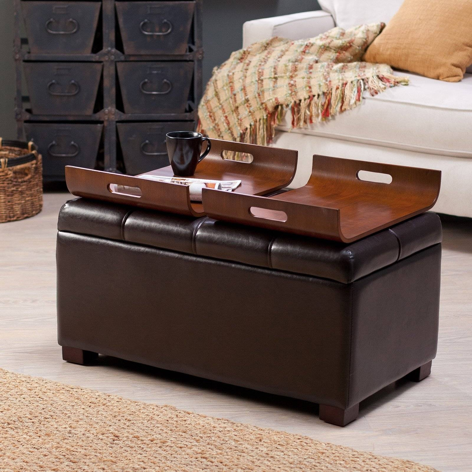 Brown Leather Ottoman Coffee Table With Storage | Coffee Tables intended for Brown Leather Ottoman Coffee Tables With Storages (Image 11 of 30)