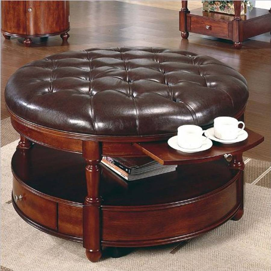 Brown Leather Ottoman Coffee Table With Storage | Coffee Tables with Square Coffee Tables With Storages (Image 2 of 30)