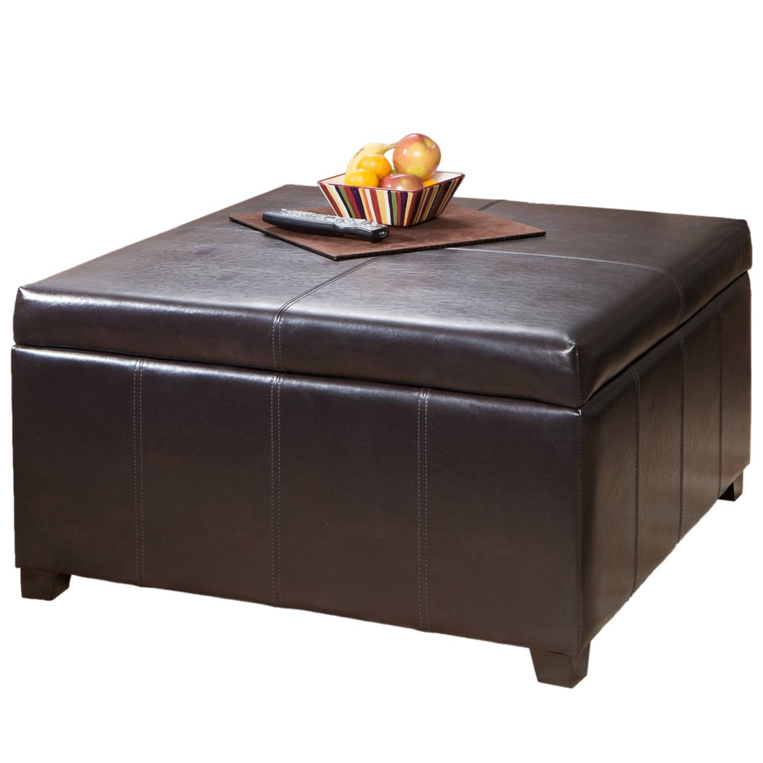 Brown Leather Ottoman With Storage | Stools, Chairs, Seat, And throughout Brown Leather Ottoman Coffee Tables With Storages (Image 12 of 30)