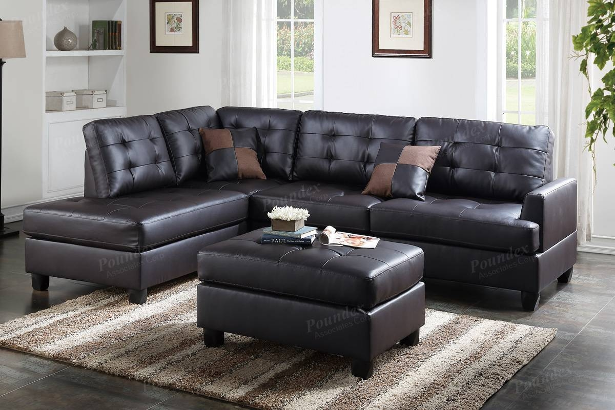 Brown Leather Sectional Sofa And Ottoman - Steal-A-Sofa Furniture for Faux Leather Sectional Sofas (Image 5 of 25)