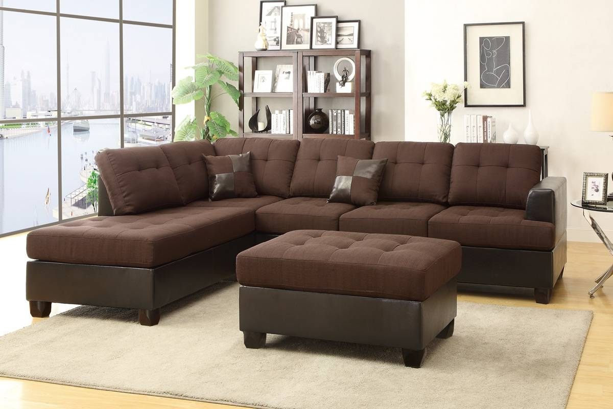 Brown Leather Sectional Sofa And Ottoman - Steal-A-Sofa Furniture within Sofa Chair With Ottoman (Image 6 of 30)