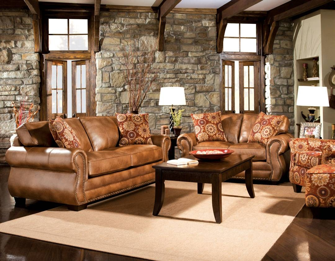 Brown Leather Sofa Set With Inspiration Photo 4930 | Kengire throughout Light Tan Leather Sofas (Image 9 of 30)
