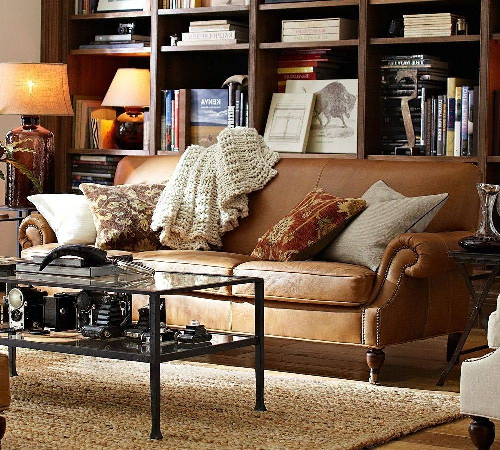 Brown Leather Sofa With Fabric Cushions - Fjellkjeden throughout Aniline Leather Sofas (Image 13 of 30)