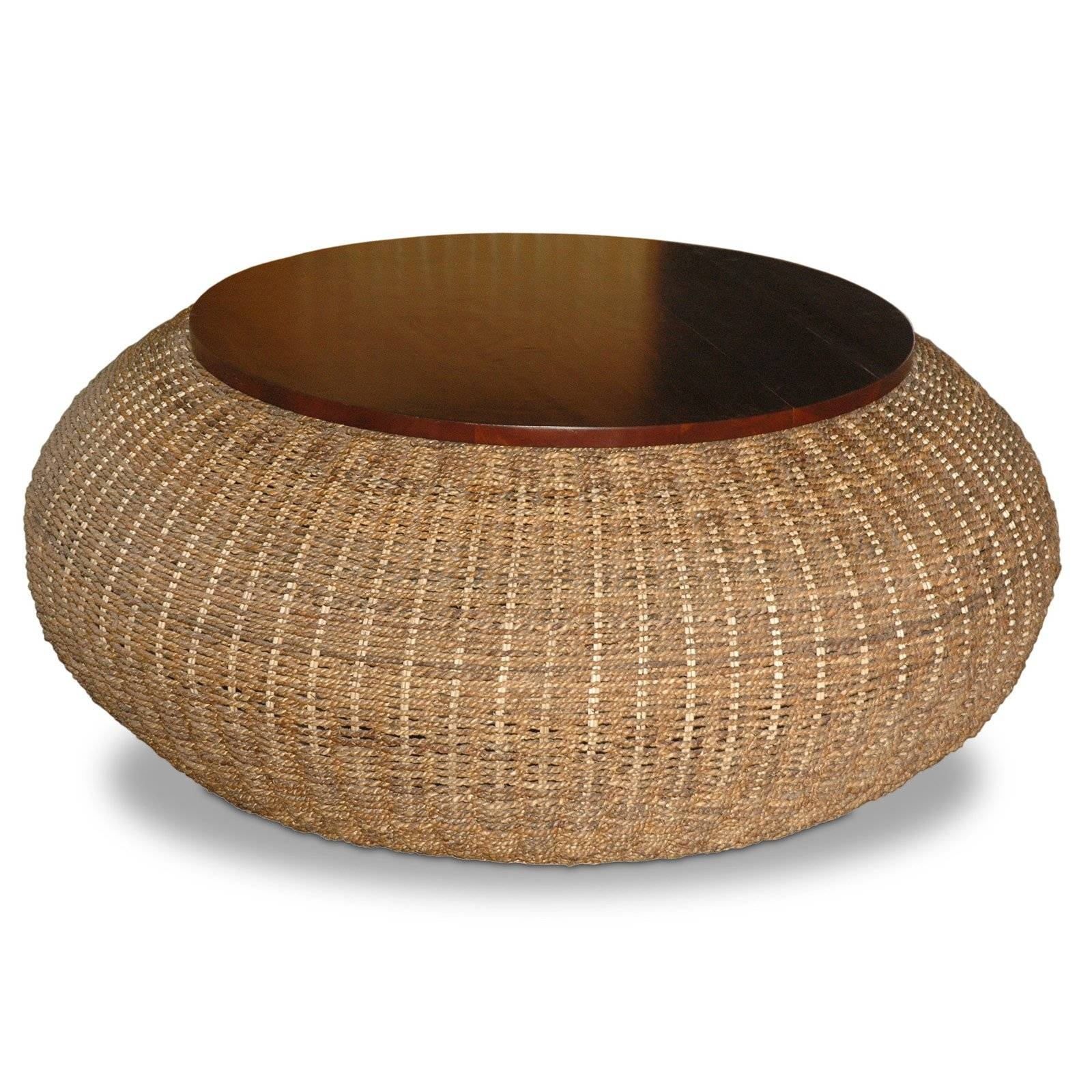 Brown Rattan Round Coffee Table With Storage In An Antique Design throughout Circular Coffee Tables With Storage (Image 3 of 30)