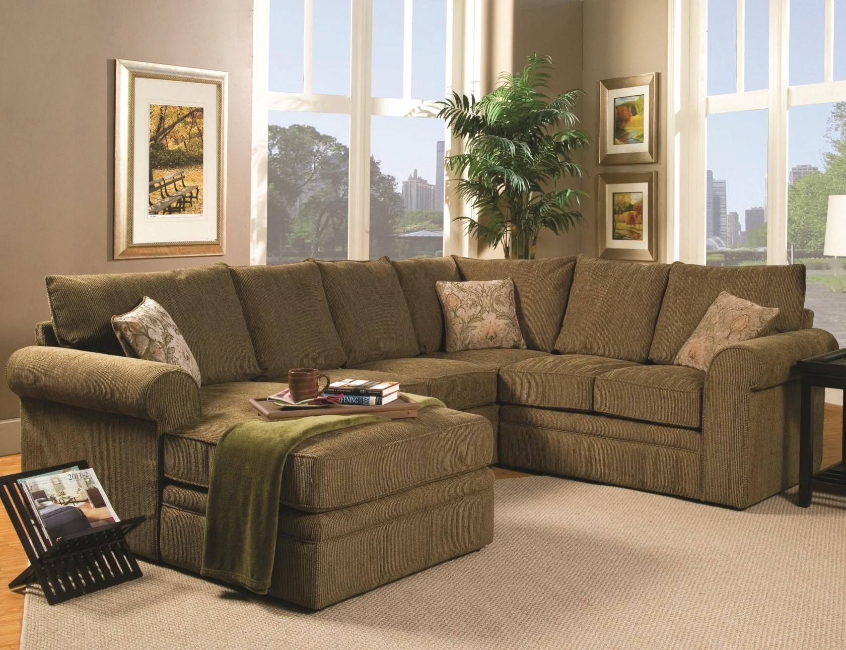 Brown Sectional Couch.top Chocolate Brown Sectional Sofa With pertaining to Abbyson Living Charlotte Dark Brown Sectional Sofa and Ottoman (Image 8 of 30)