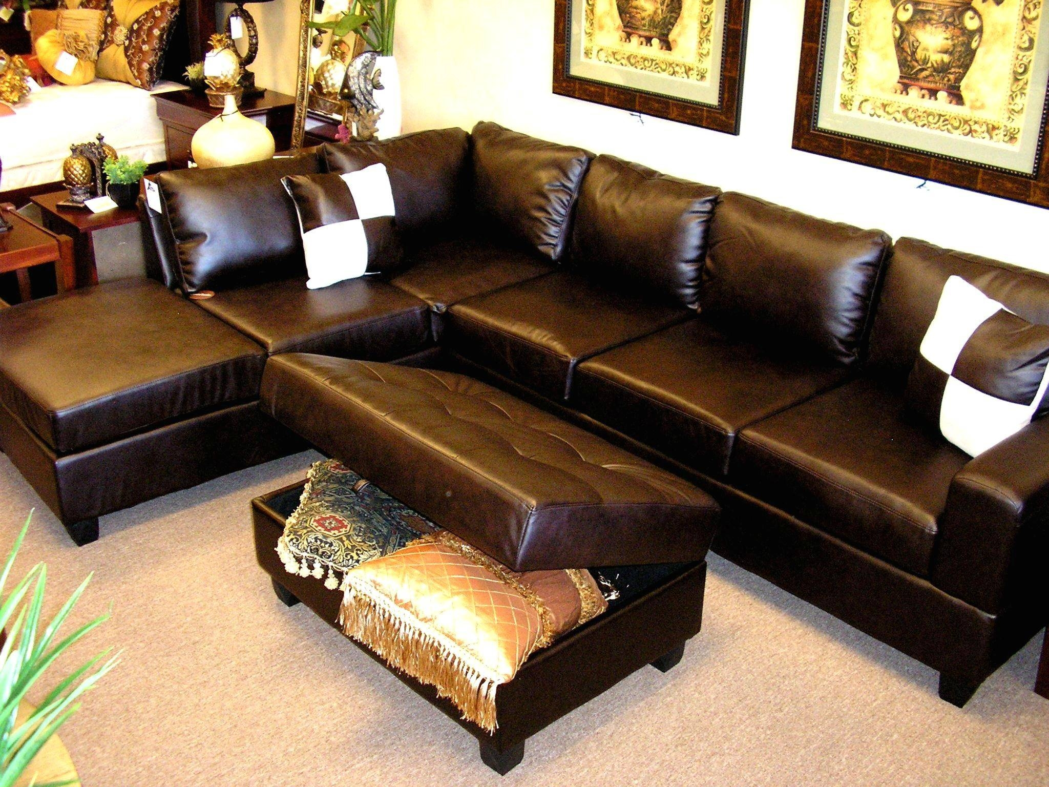 Brown Sectional Couch.top Chocolate Brown Sectional Sofa With regarding Abbyson Living Charlotte Dark Brown Sectional Sofa and Ottoman (Image 9 of 30)
