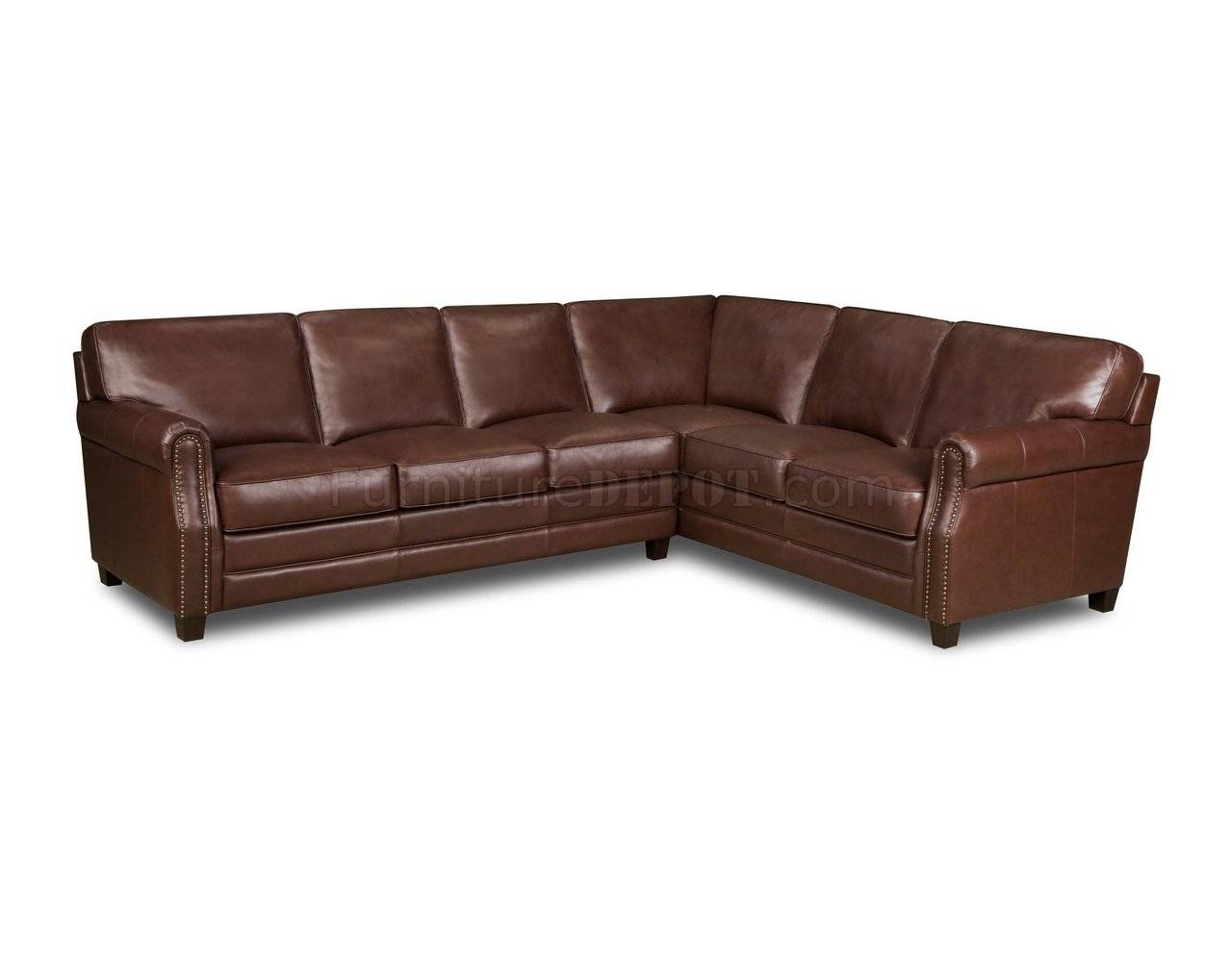 Brown Top Grain Italian Leather Traditional Sectional Sofa regarding Traditional Sectional Sofas (Image 2 of 25)