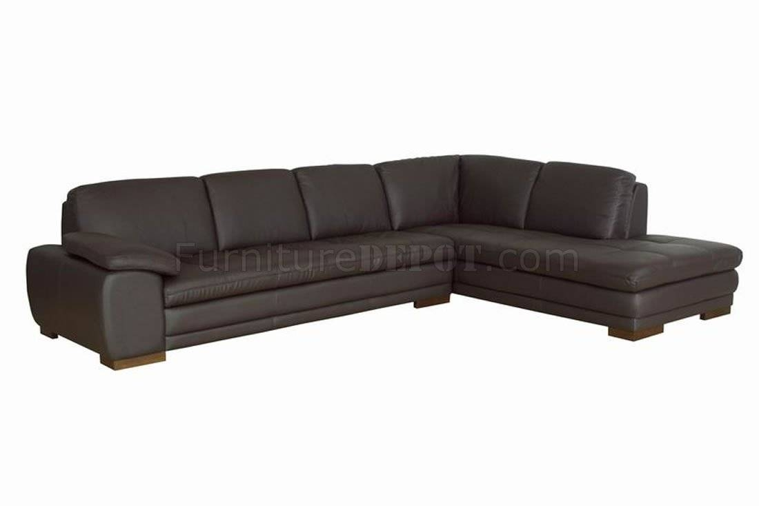 Brown Tufted Leather Right Facing Chaise Modern Sectional Sofa within Tufted Sectional Sofa Chaise (Image 1 of 25)