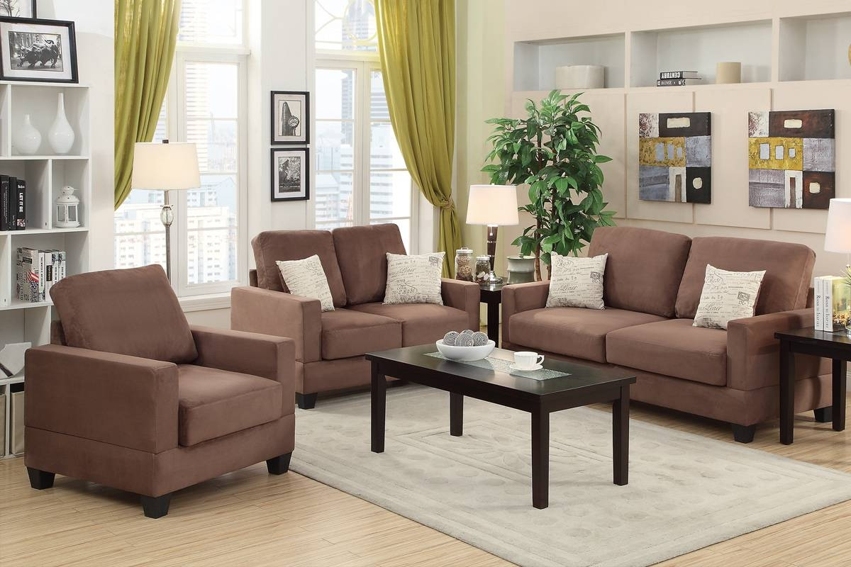 Brown Wood Sofa Loveseat And Chair Set – Steal A Sofa Furniture With Sofa And Chair Set (View 9 of 30)