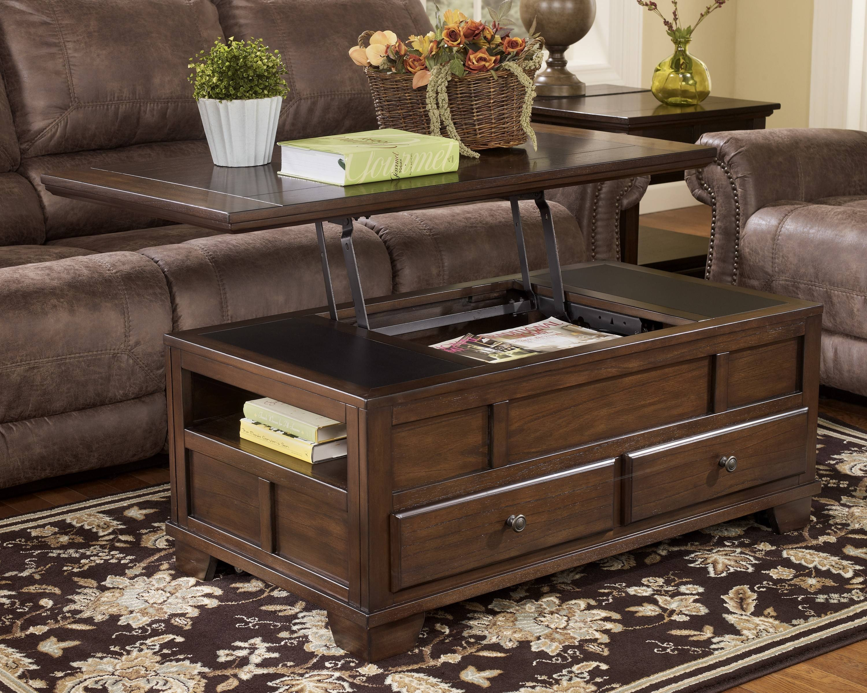 Brown Wooden Table With Double Drawers Also Shelf Combined With with regard to Square Coffee Tables With Drawers (Image 3 of 30)