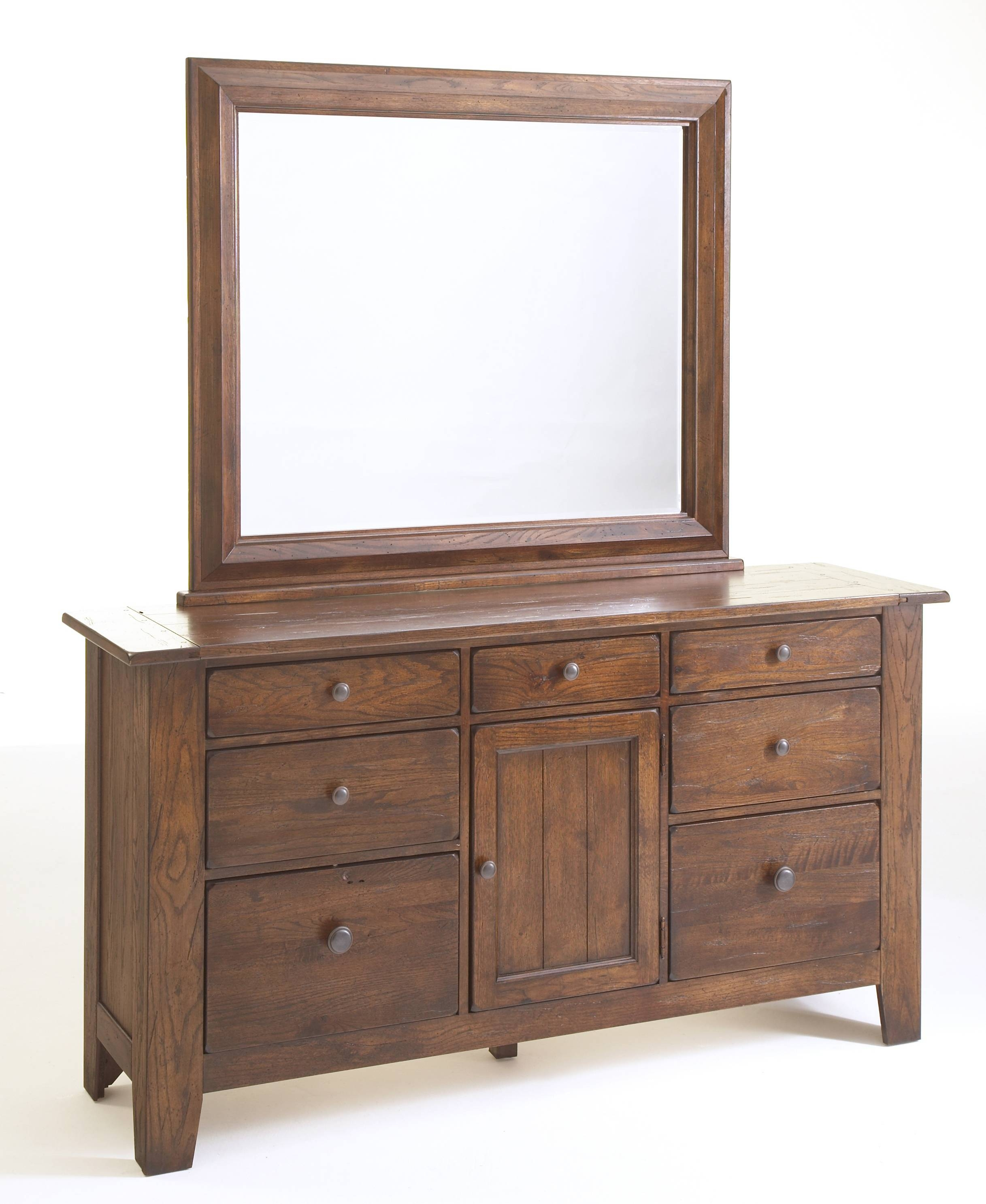 Broyhill Attic Heirlooms Rustic Oak Dresser Mirror 4399-36 within Rustic Oak Mirrors (Image 4 of 25)