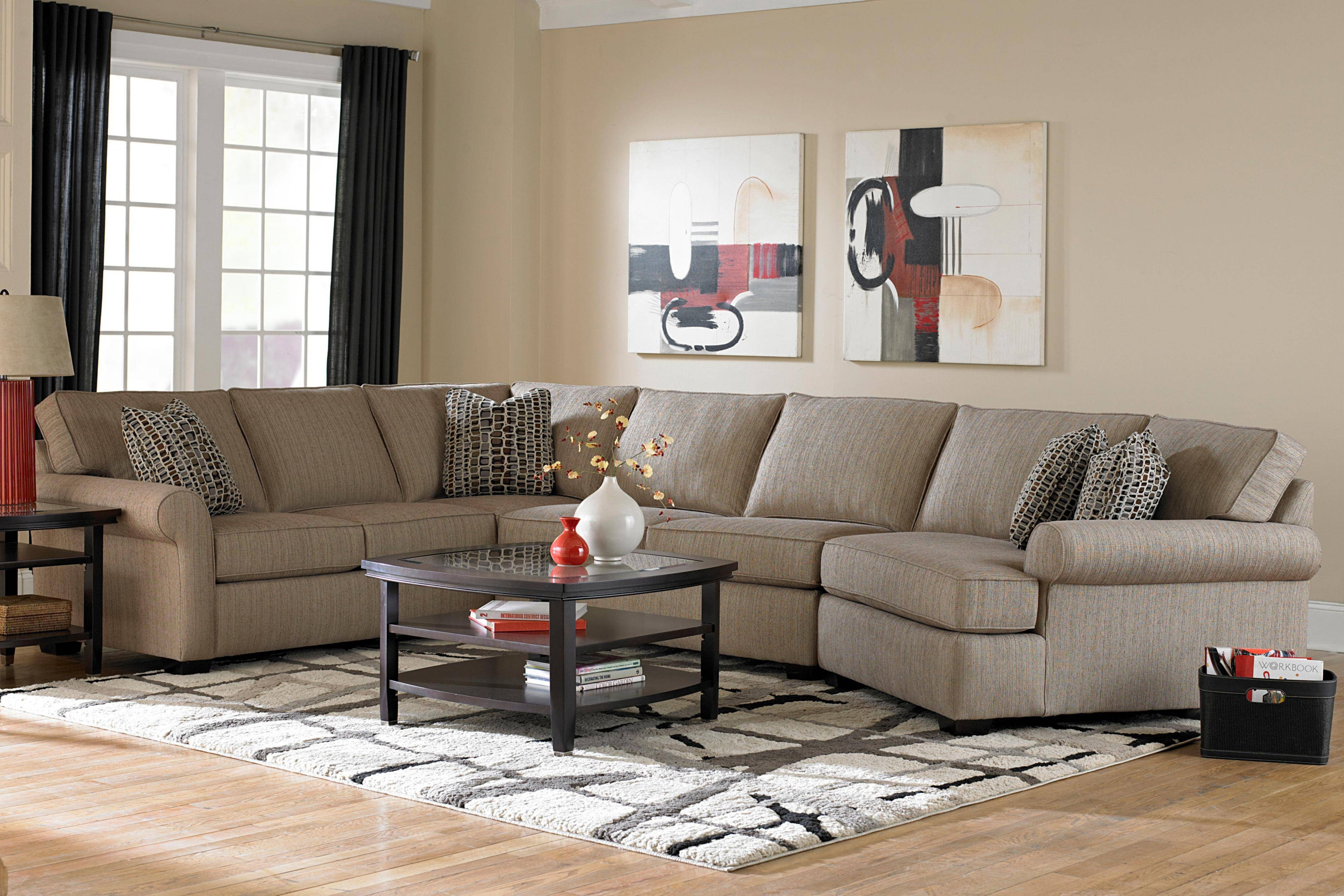 Broyhill Furniture Ethan Transitional Sectional Sofa With Right in Cuddler Sectional Sofa (Image 4 of 30)