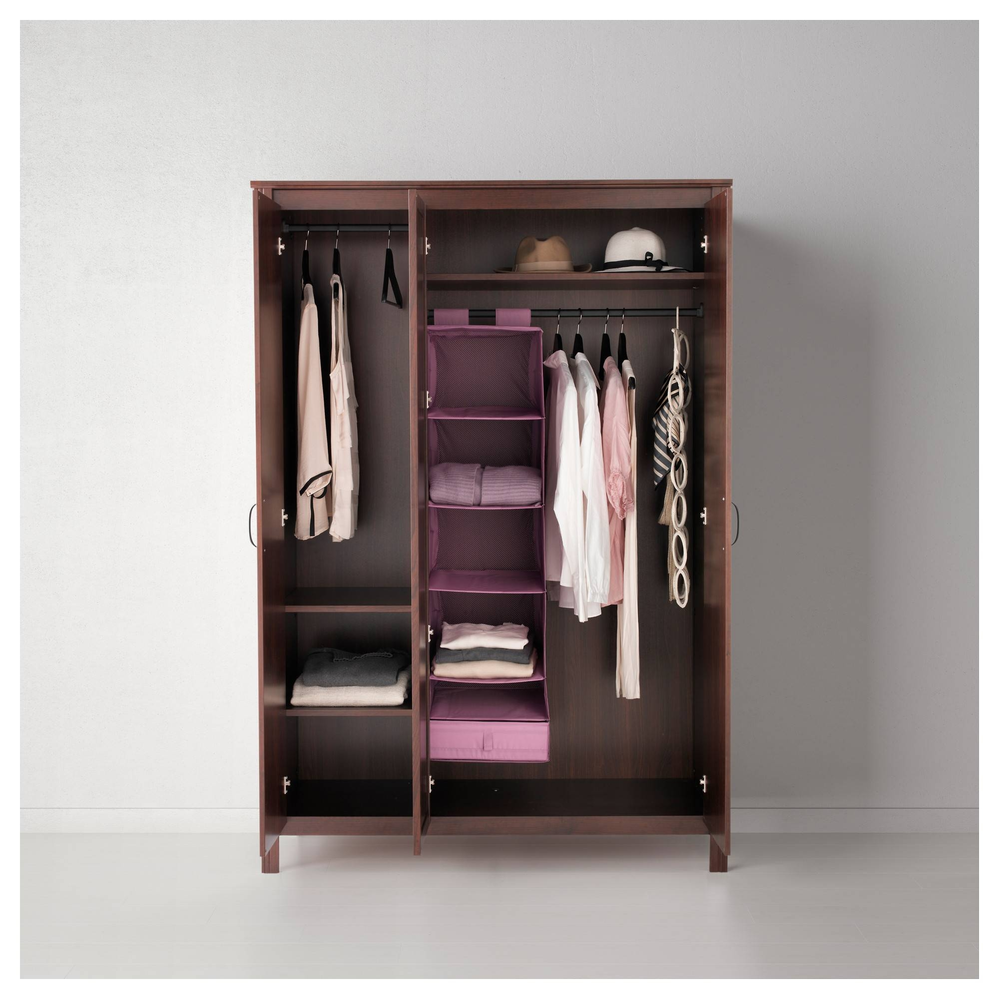 Brusali Wardrobe With 3 Doors - Brown - Ikea with regard to 3 Door Wardrobe With Drawers And Shelves (Image 8 of 30)