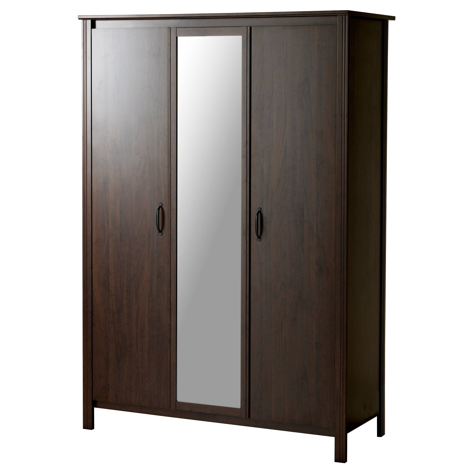 Brusali Wardrobe With 3 Doors - Ikea throughout Dark Wood Wardrobe Closet (Image 10 of 30)