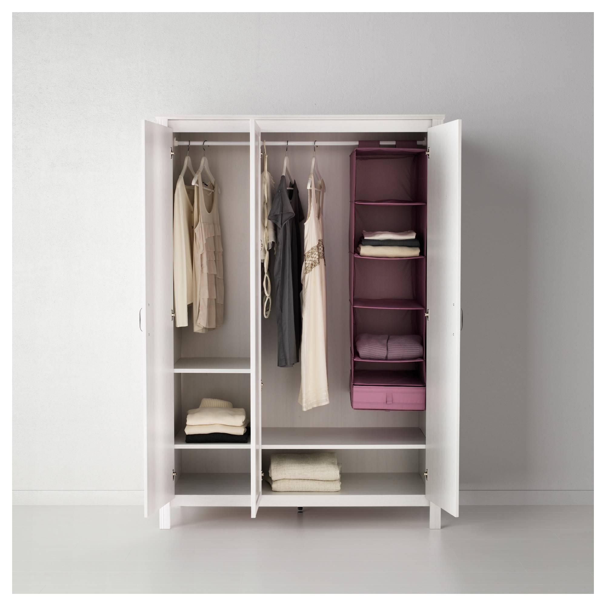 Brusali Wardrobe With 3 Doors White 131X190 Cm - Ikea for 3 Door Wardrobes (Image 8 of 15)