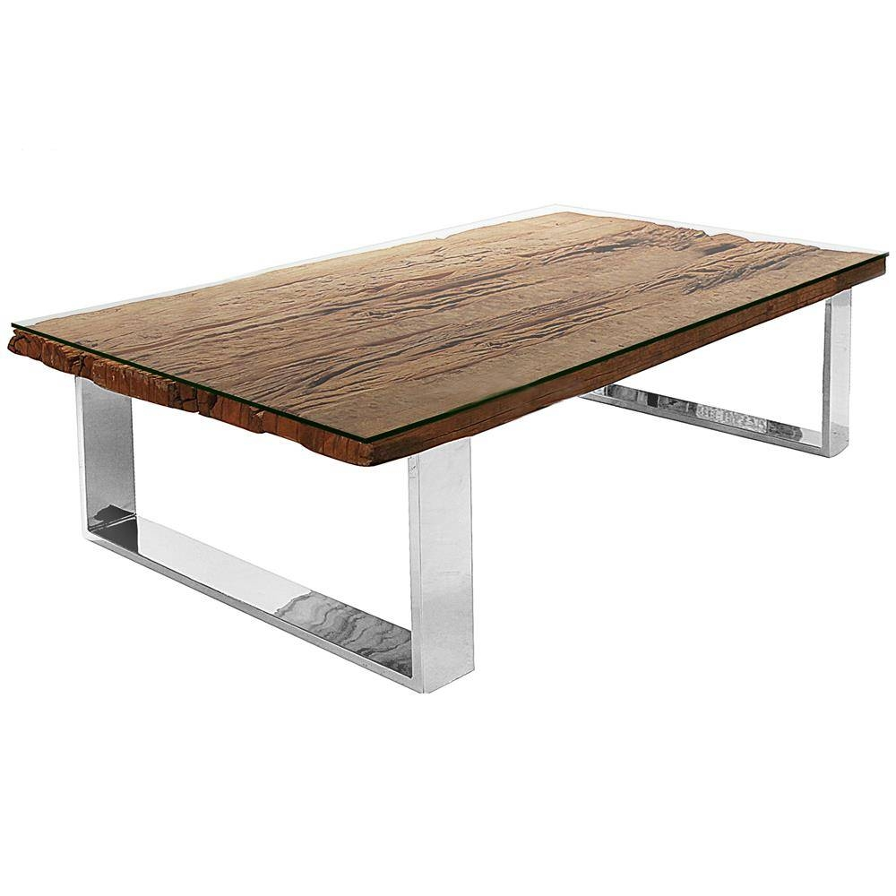 Buck Rustic Lodge Reclaimed Wood Glass Steel Coffee Table - 65 regarding Reclaimed Wood and Glass Coffee Tables (Image 2 of 30)